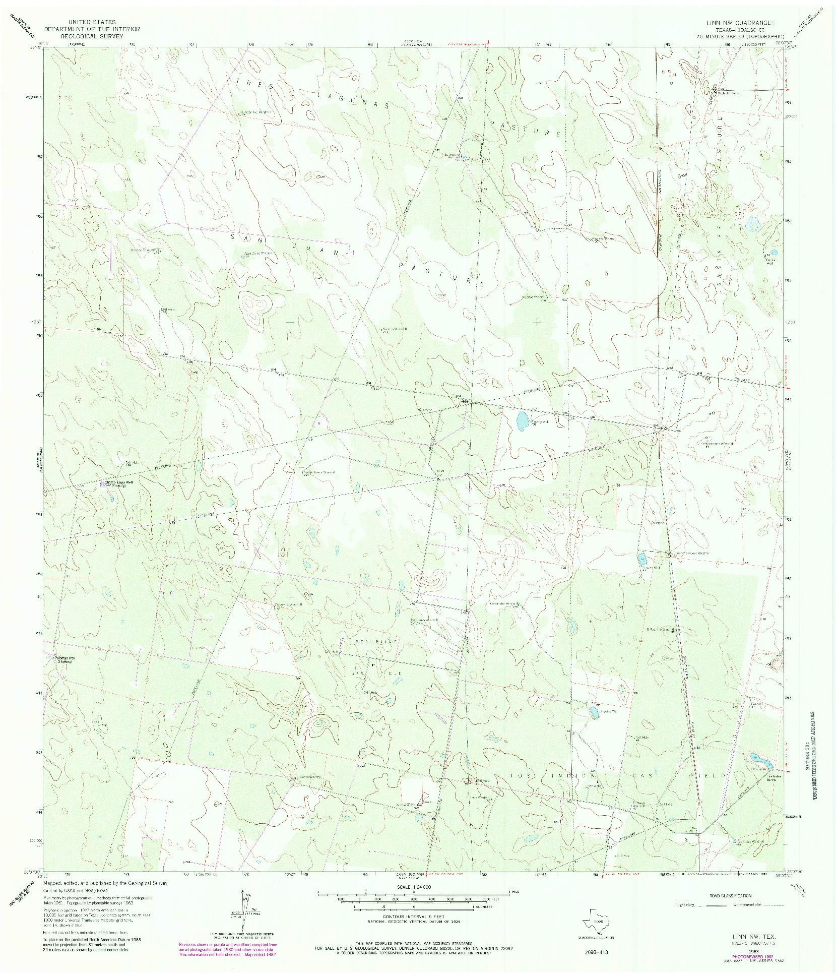 USGS 1:24000-SCALE QUADRANGLE FOR LINN NW, TX 1963