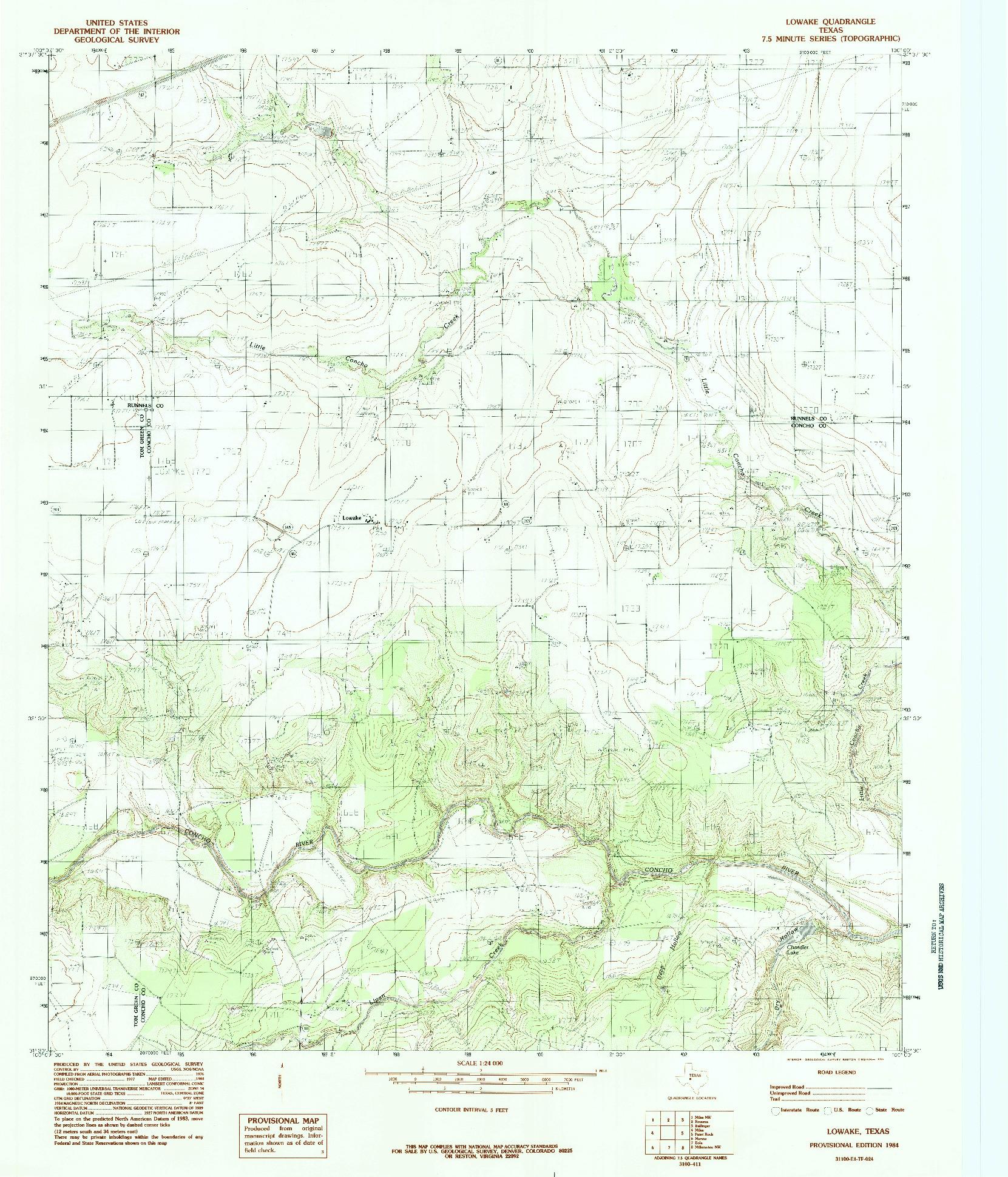 USGS 1:24000-SCALE QUADRANGLE FOR LOWAKE, TX 1984
