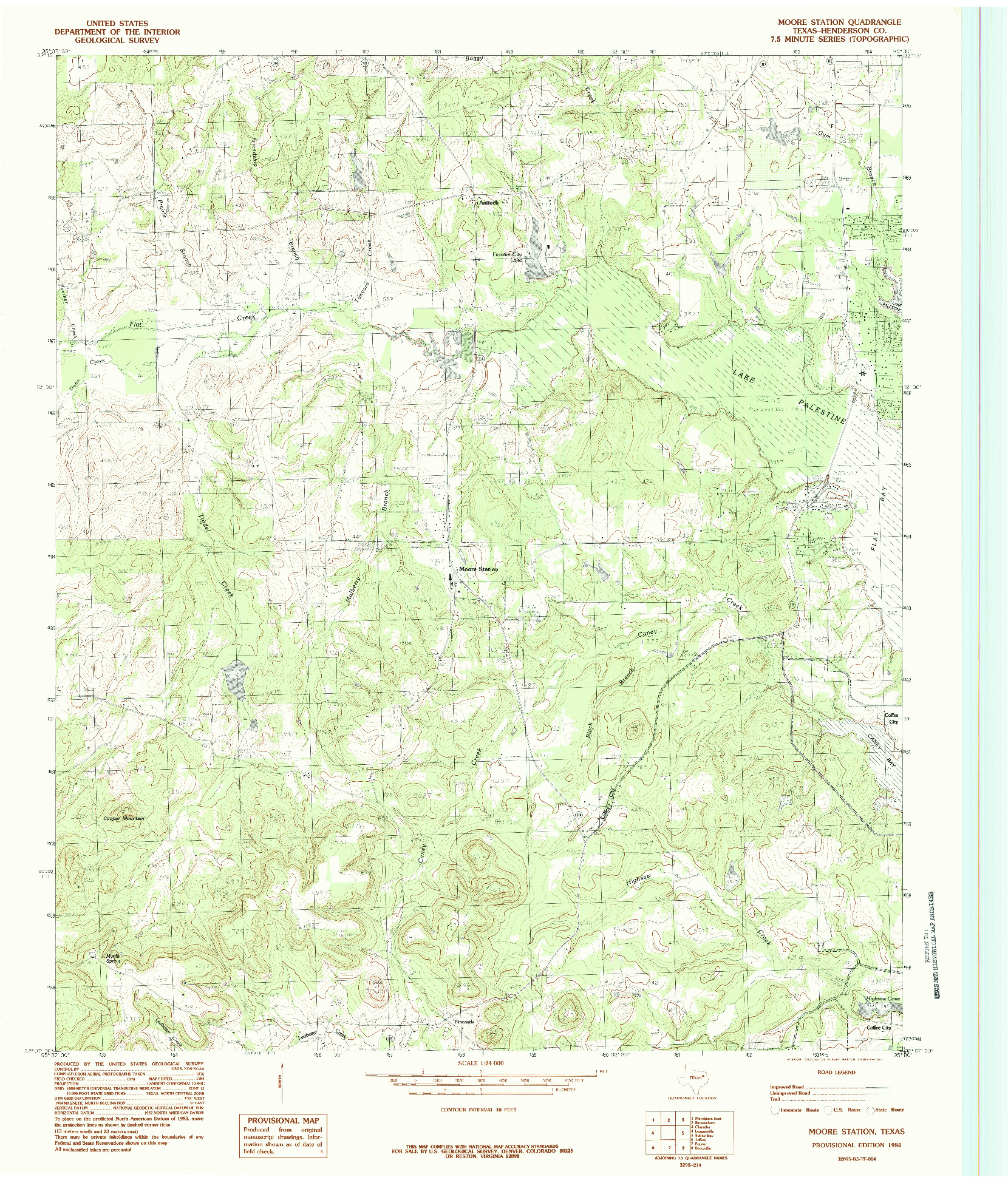 USGS 1:24000-SCALE QUADRANGLE FOR MOORE STATION, TX 1984