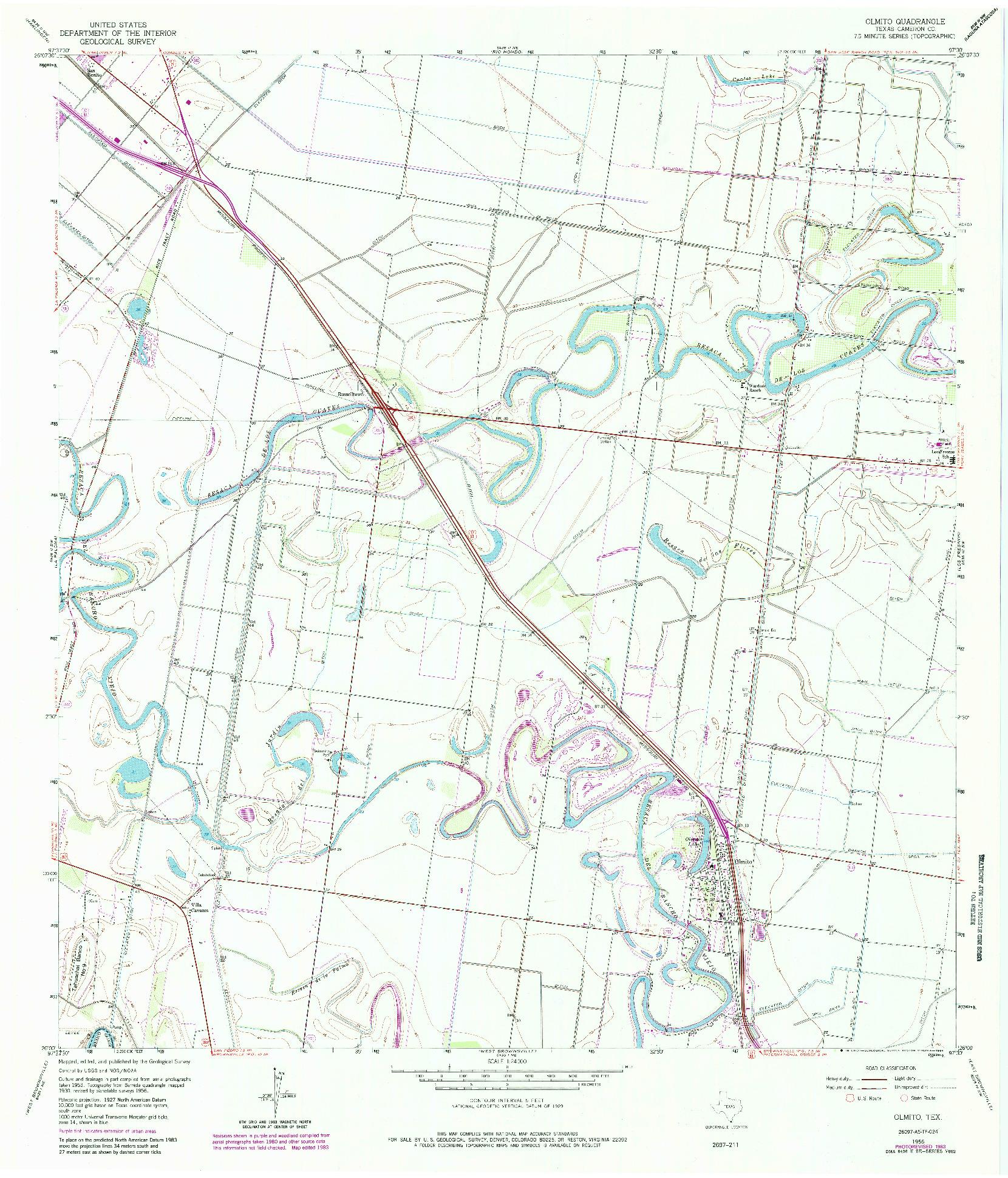 USGS 1:24000-SCALE QUADRANGLE FOR OLMITO, TX 1956