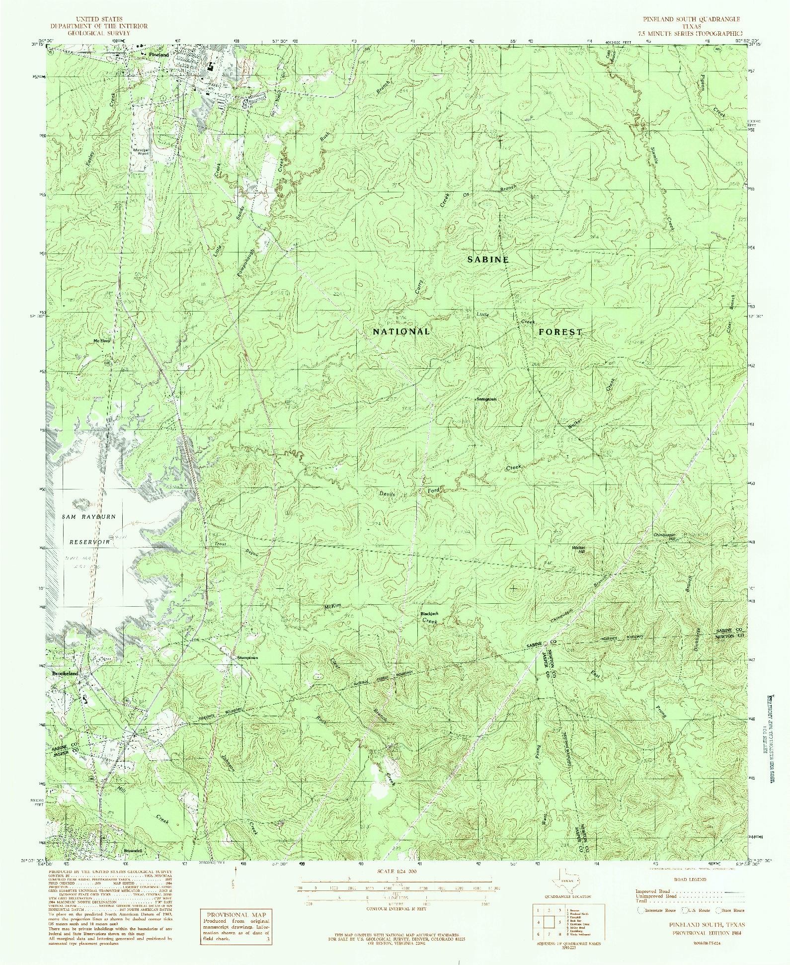 USGS 1:24000-SCALE QUADRANGLE FOR PINELAND SOUTH, TX 1984