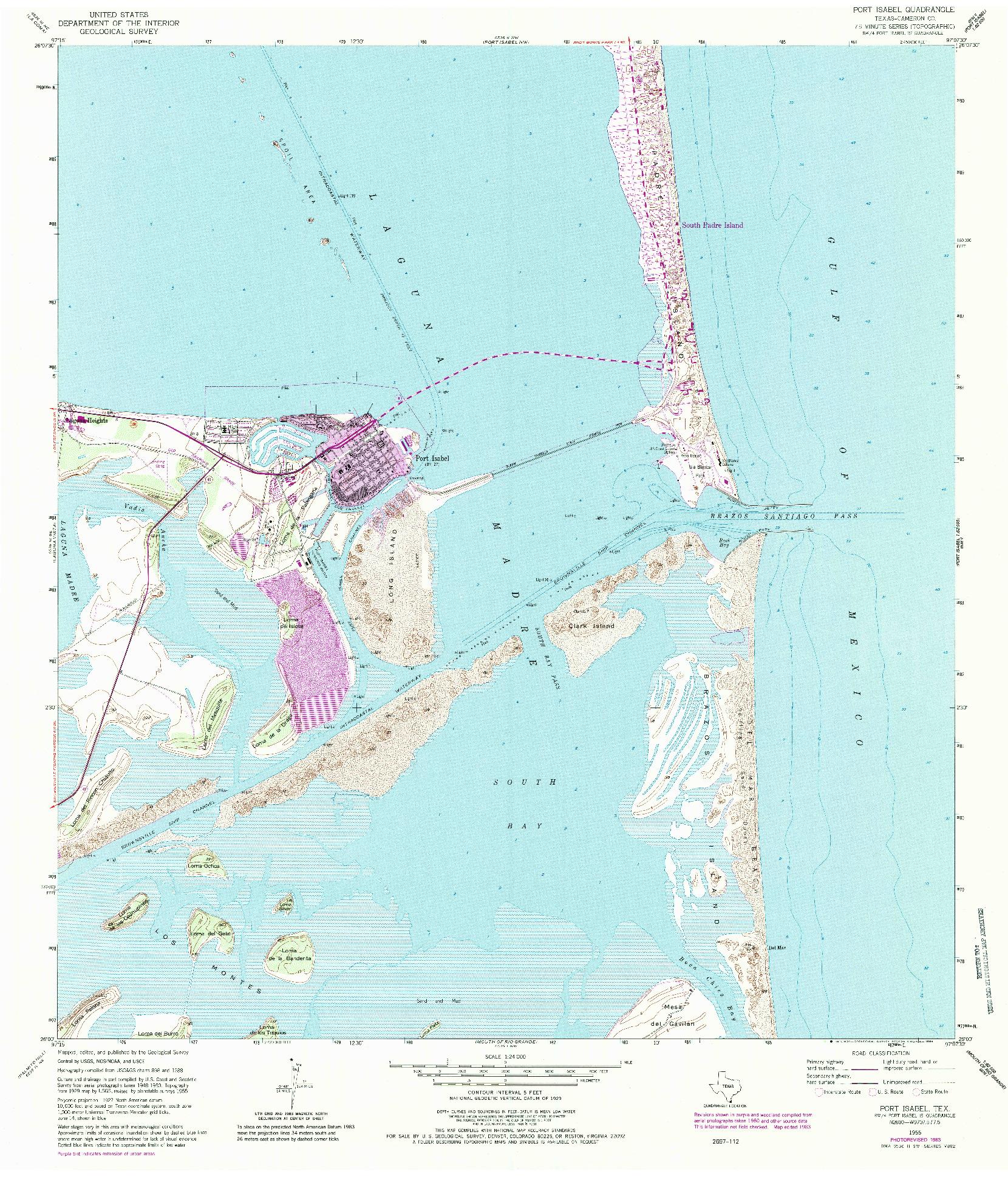 USGS 1:24000-SCALE QUADRANGLE FOR PORT ISABEL, TX 1955