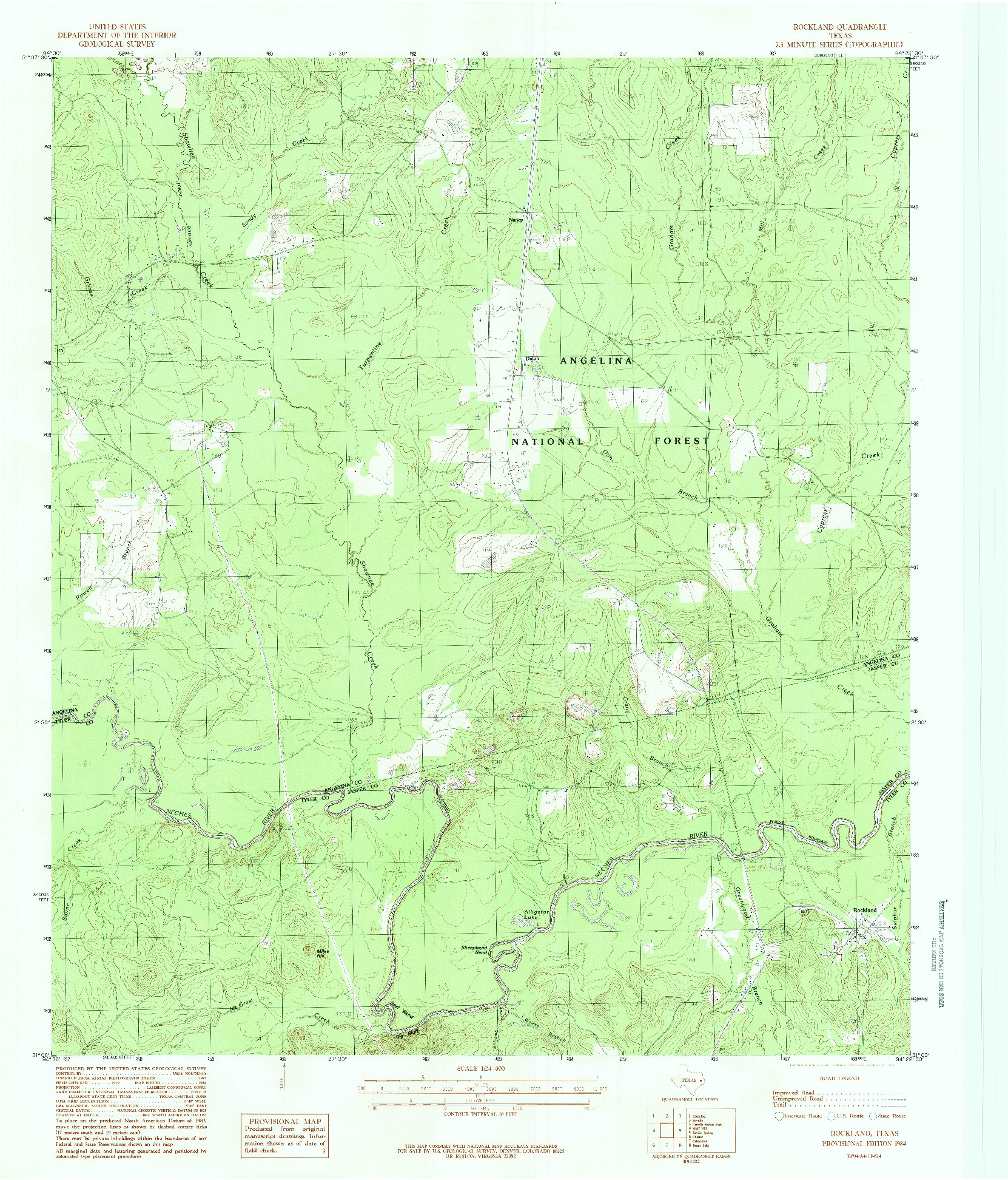 USGS 1:24000-SCALE QUADRANGLE FOR ROCKLAND, TX 1984