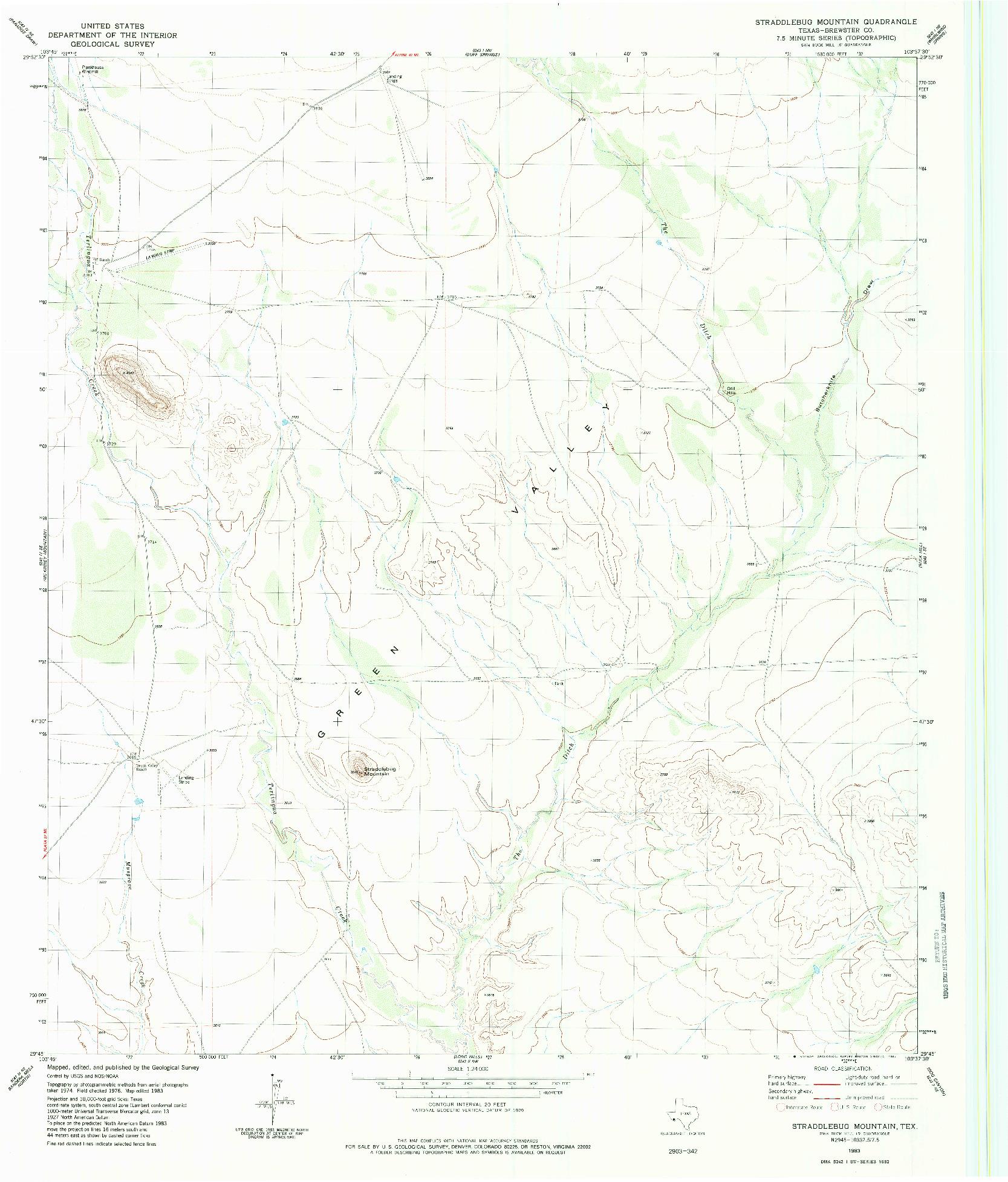 USGS 1:24000-SCALE QUADRANGLE FOR STRADDLEBUG MOUNTAIN, TX 1983