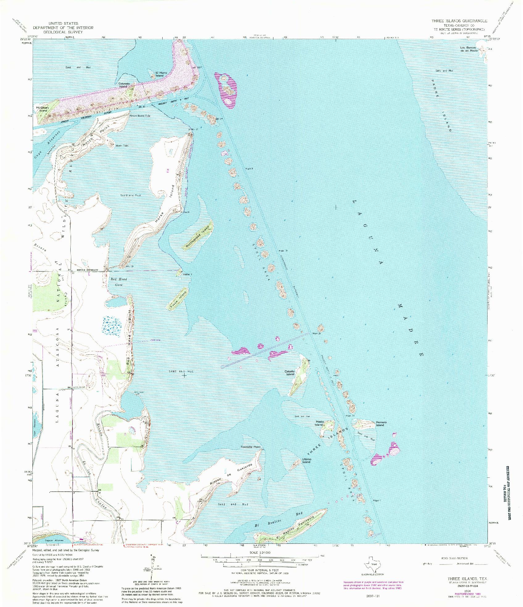 USGS 1:24000-SCALE QUADRANGLE FOR THREE ISLANDS, TX 1954