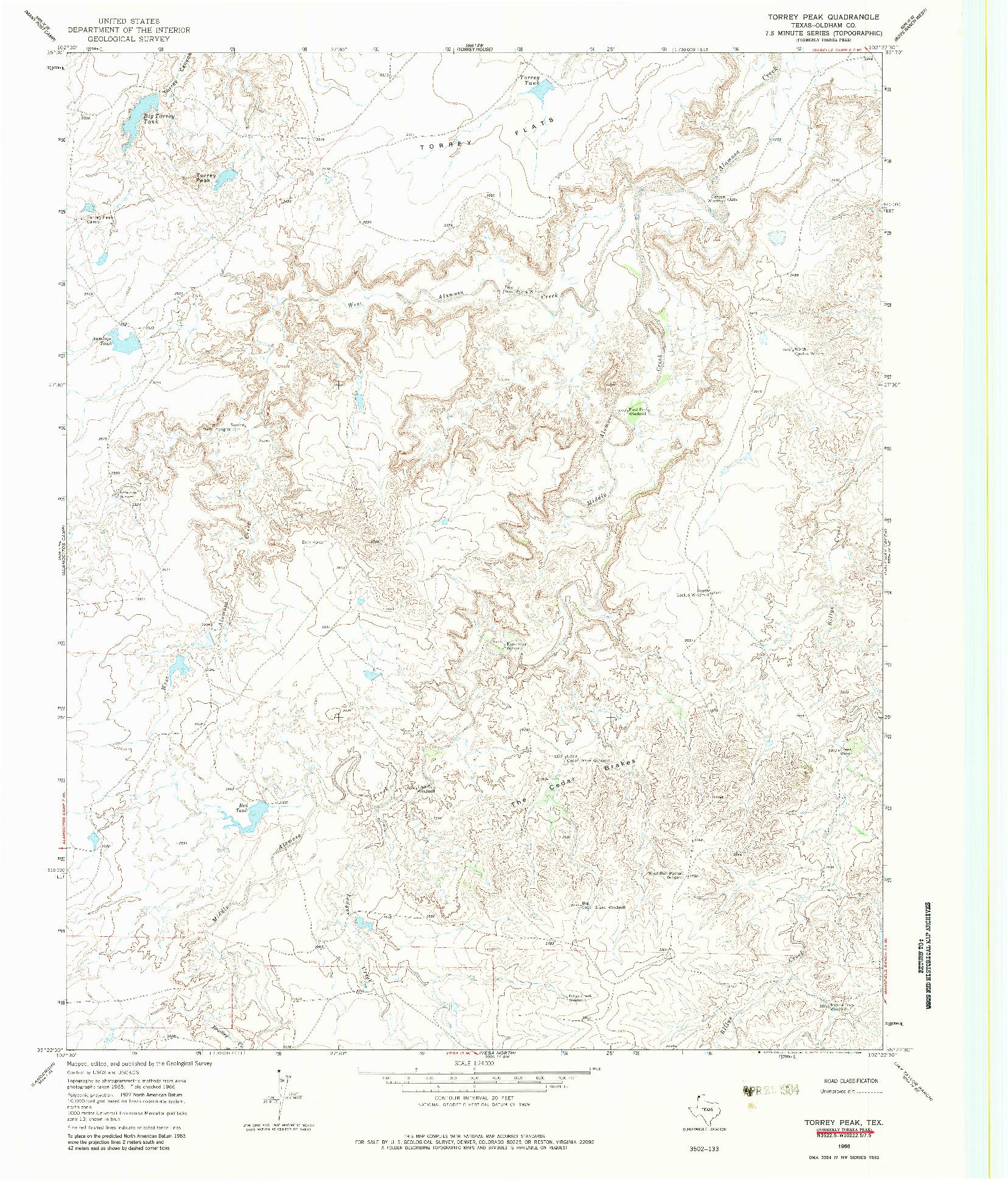 USGS 1:24000-SCALE QUADRANGLE FOR TORREY PEAK, TX 1966