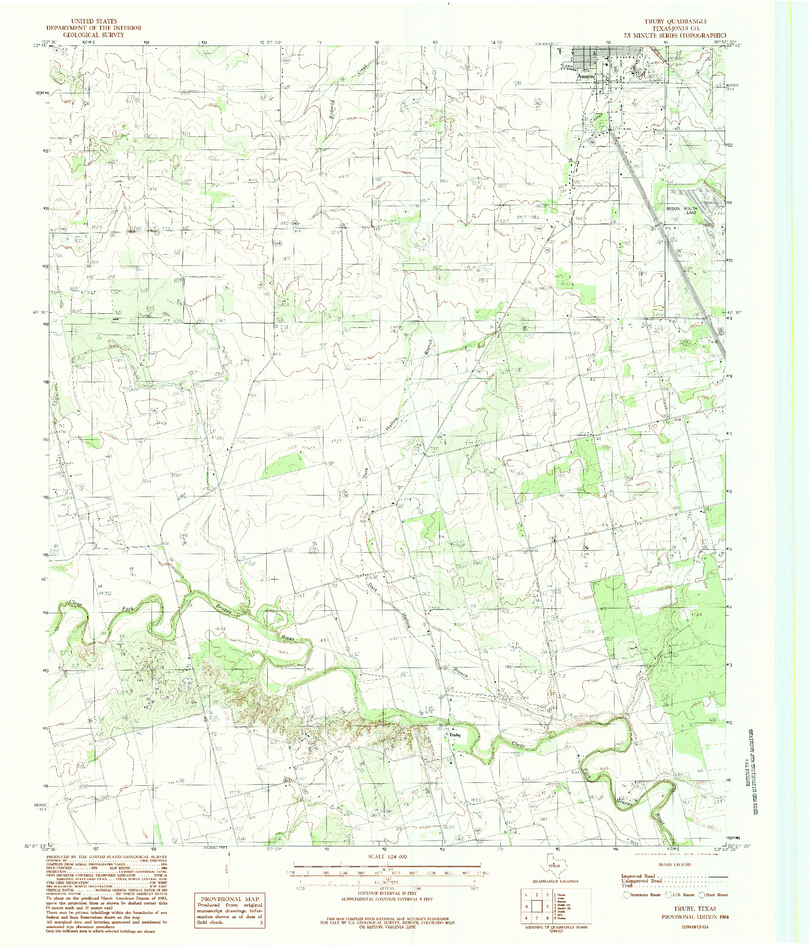 USGS 1:24000-SCALE QUADRANGLE FOR TRUBY, TX 1984
