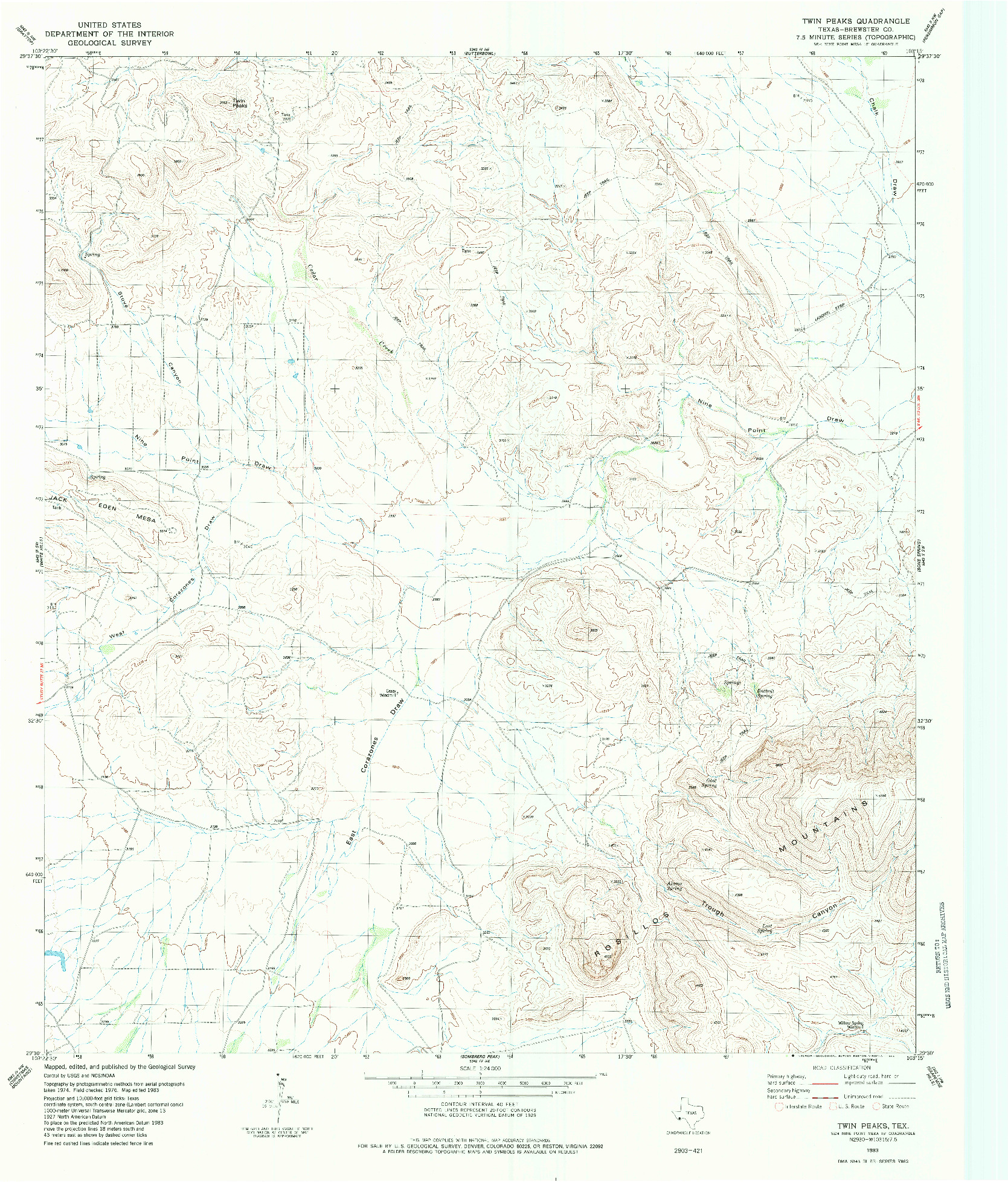 USGS 1:24000-SCALE QUADRANGLE FOR TWIN PEAKS, TX 1983