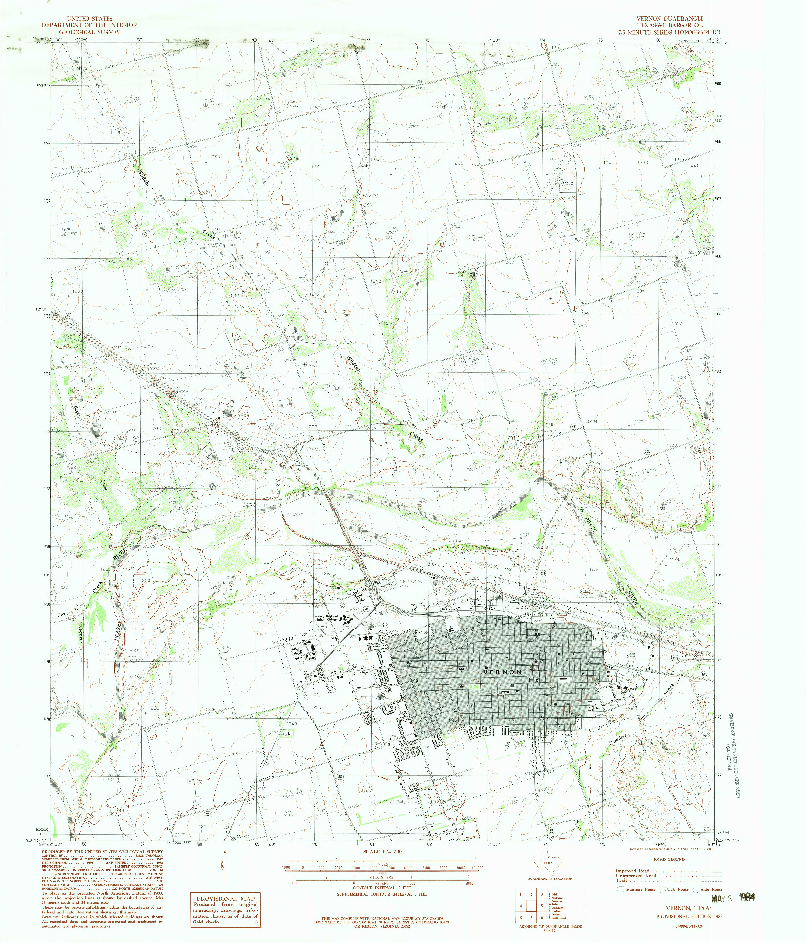 USGS 1:24000-SCALE QUADRANGLE FOR VERNON, TX 1983