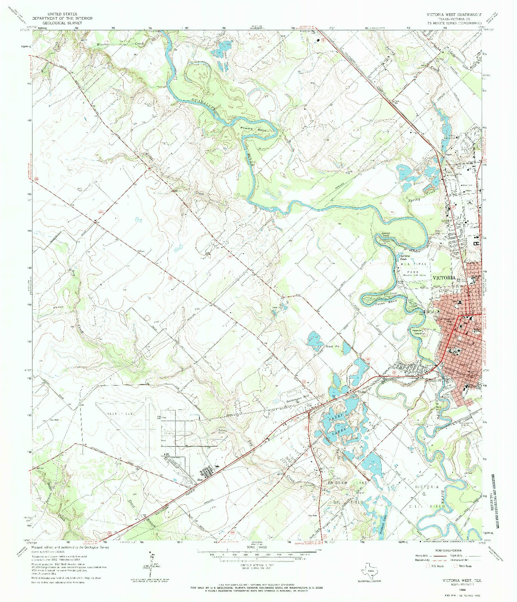 USGS 1:24000-SCALE QUADRANGLE FOR VICTORIA WEST, TX 1964