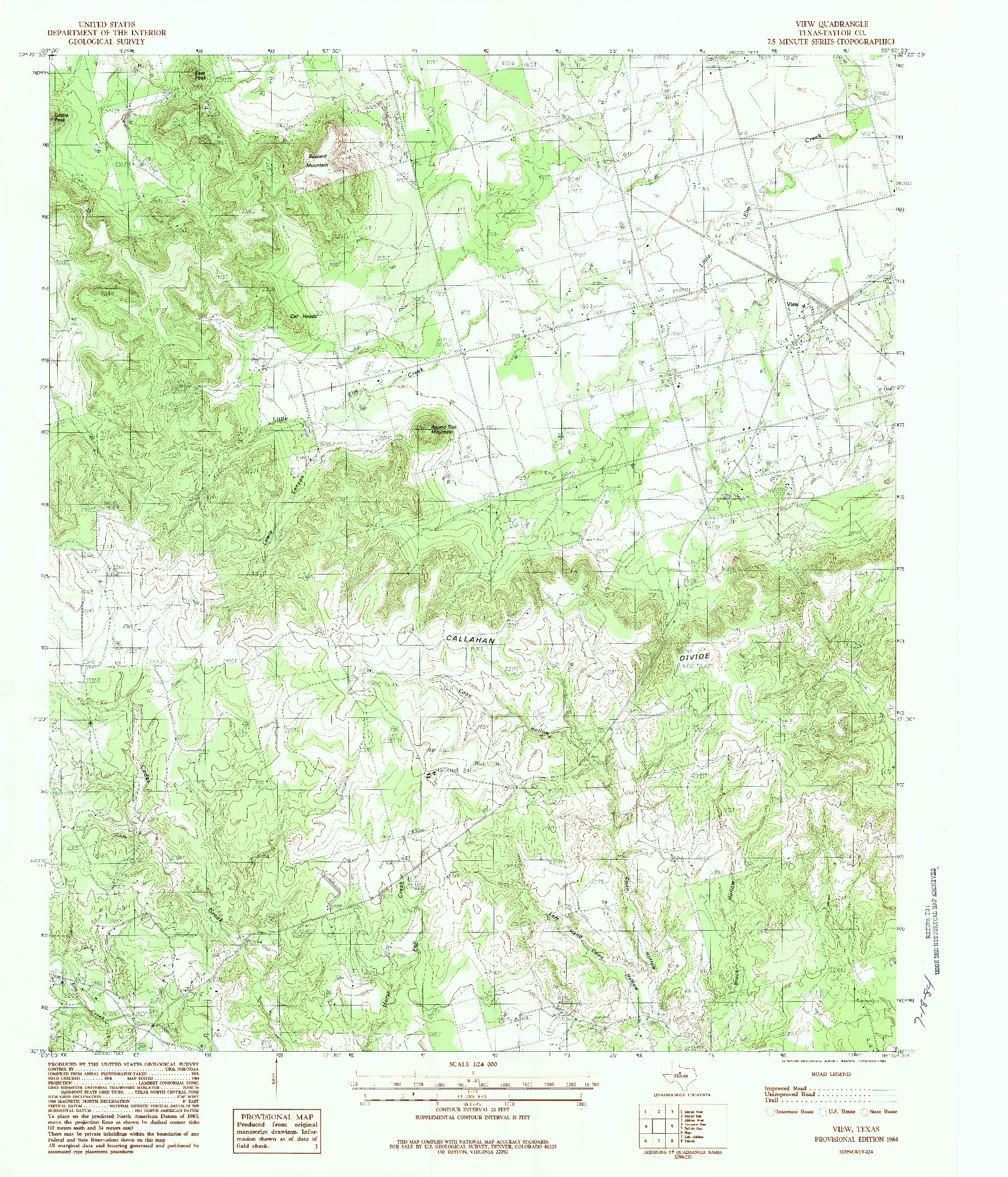 USGS 1:24000-SCALE QUADRANGLE FOR VIEW, TX 1984