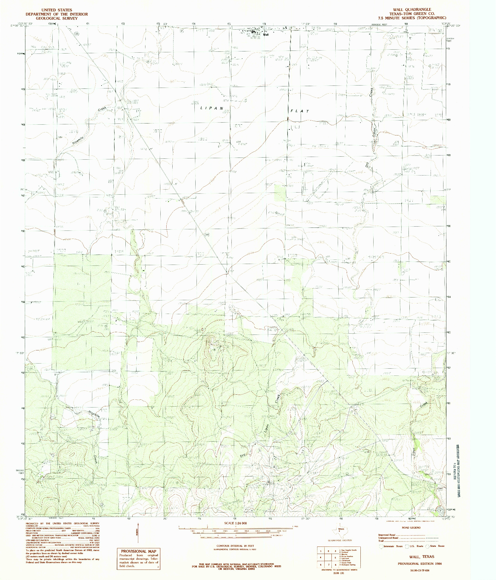 USGS 1:24000-SCALE QUADRANGLE FOR WALL, TX 1984
