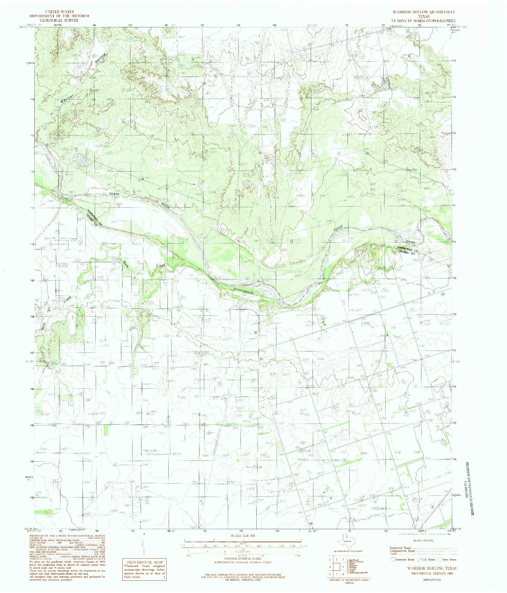 USGS 1:24000-SCALE QUADRANGLE FOR WARRIOR HOLLOW, TX 1983