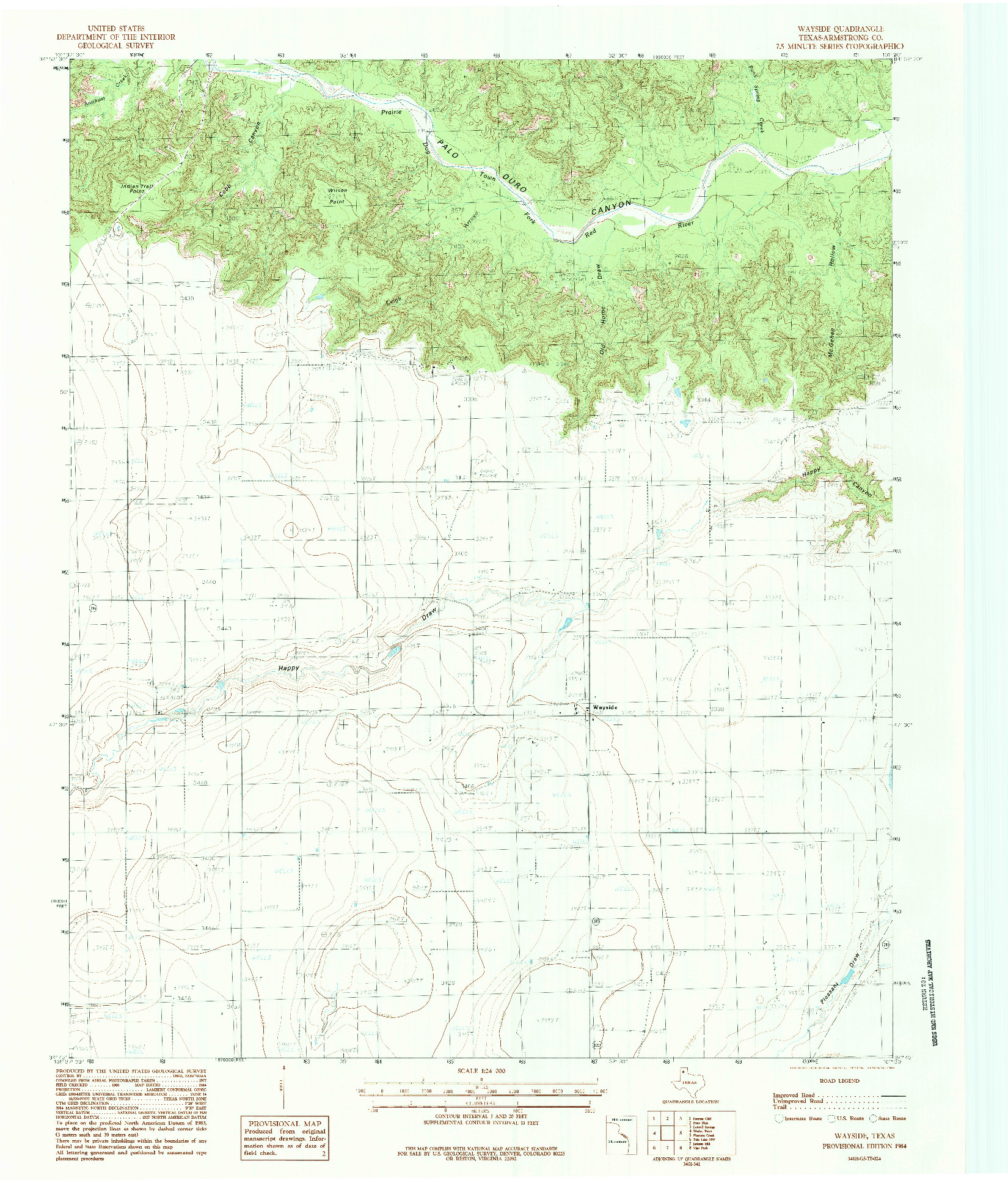 USGS 1:24000-SCALE QUADRANGLE FOR WAYSIDE, TX 1984