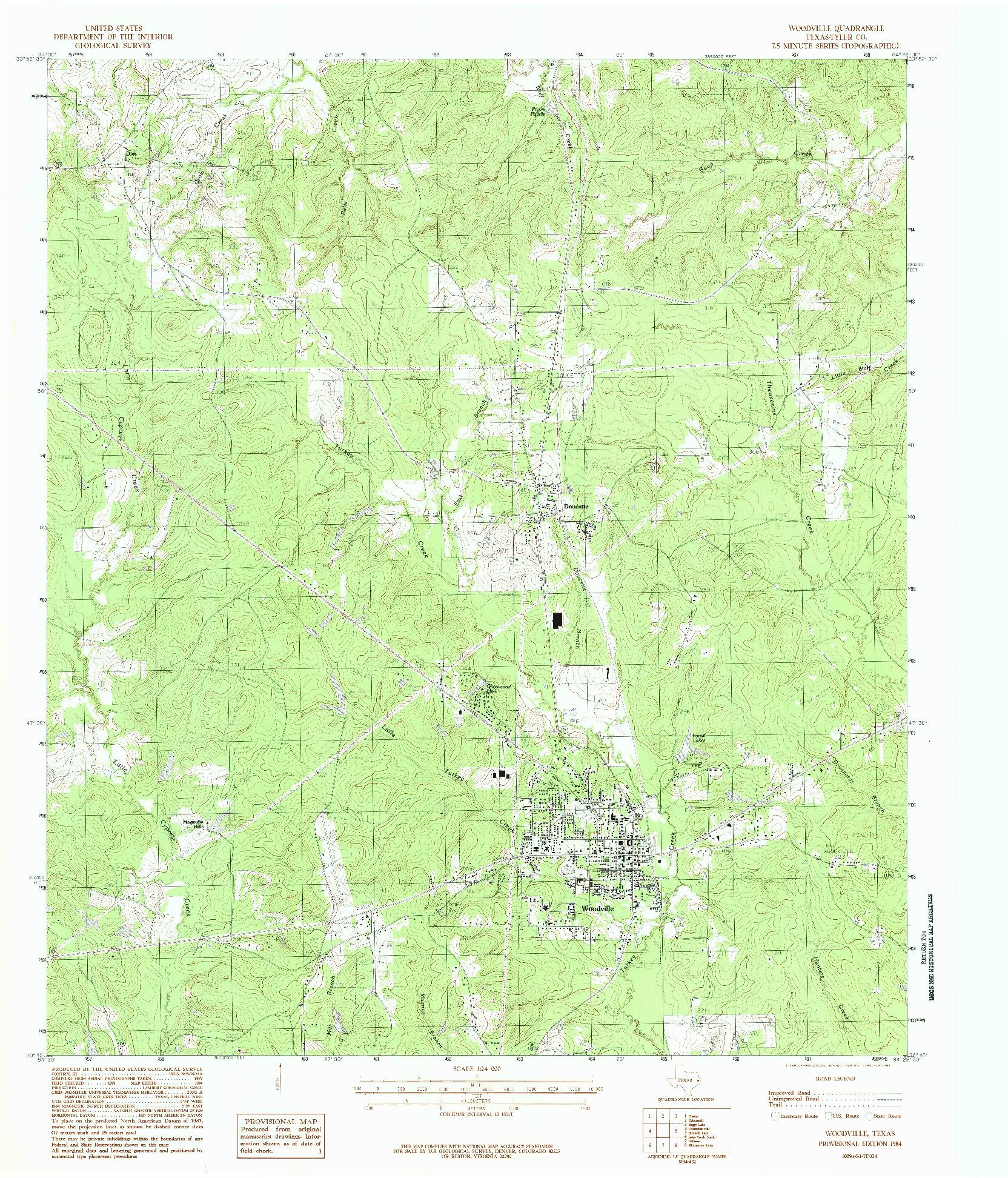 USGS 1:24000-SCALE QUADRANGLE FOR WOODVILLE, TX 1984