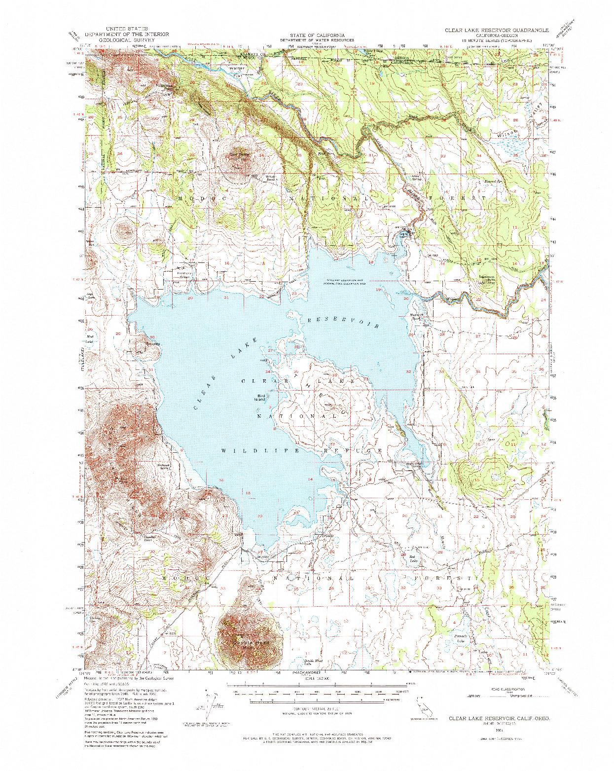 USGS 1:62500-SCALE QUADRANGLE FOR CLEAR LAKE RESERVOIR, CA 1951
