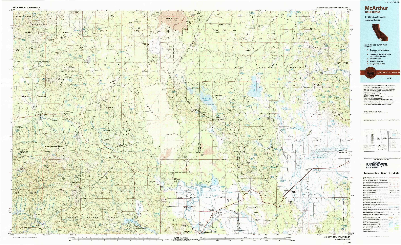 USGS 1:100000-SCALE QUADRANGLE FOR MCARTHUR, CA 1984