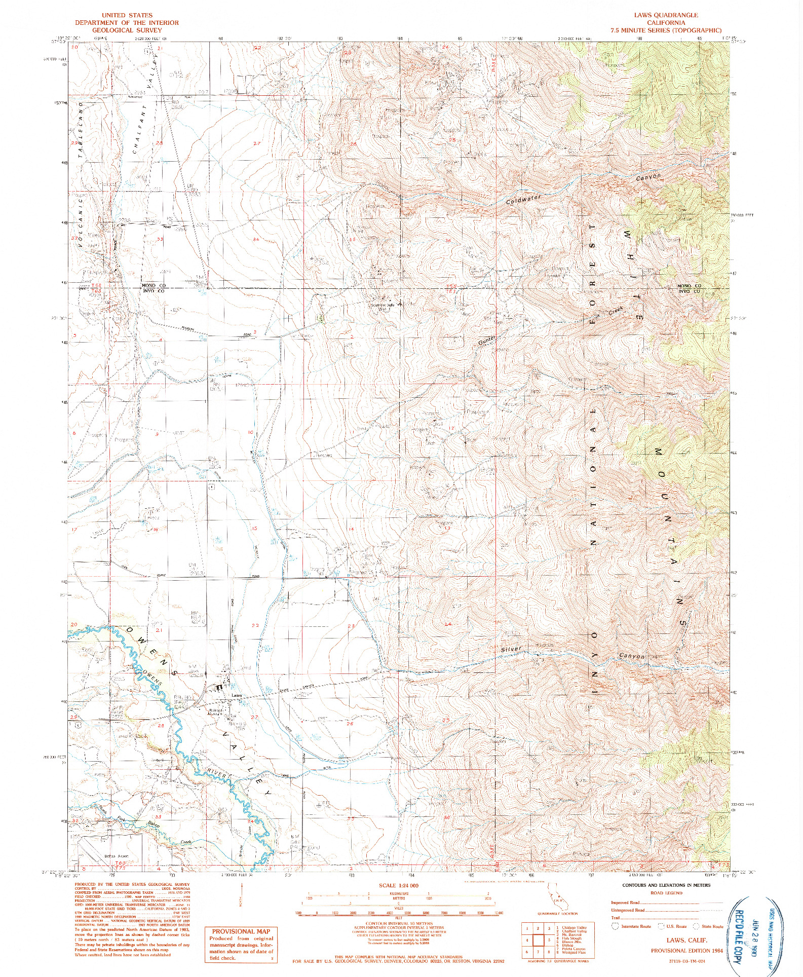 USGS 1:24000-SCALE QUADRANGLE FOR LAWS, CA 1984