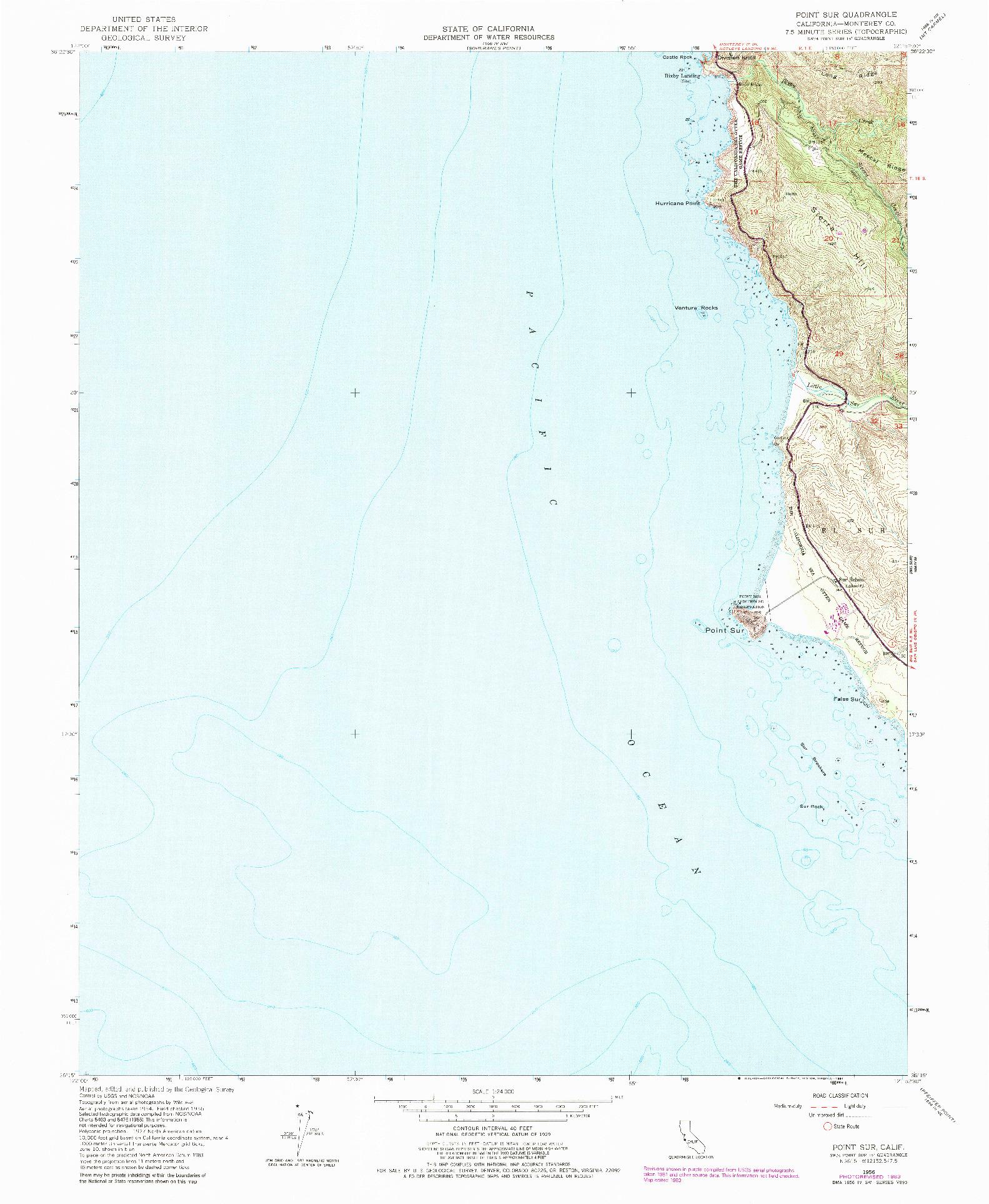USGS 1:24000-SCALE QUADRANGLE FOR POINT SUR, CA 1956
