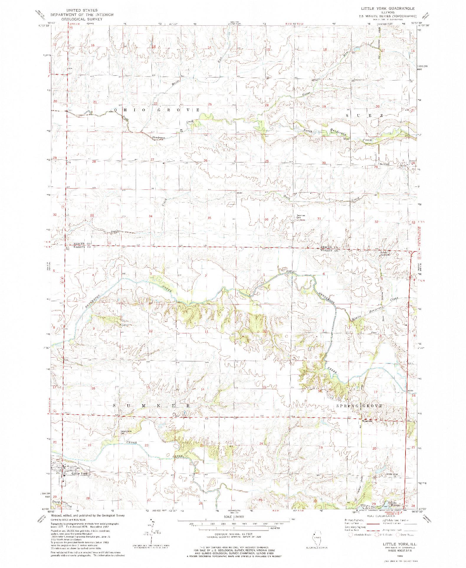 USGS 1:24000-SCALE QUADRANGLE FOR LITTLE YORK, IL 1982