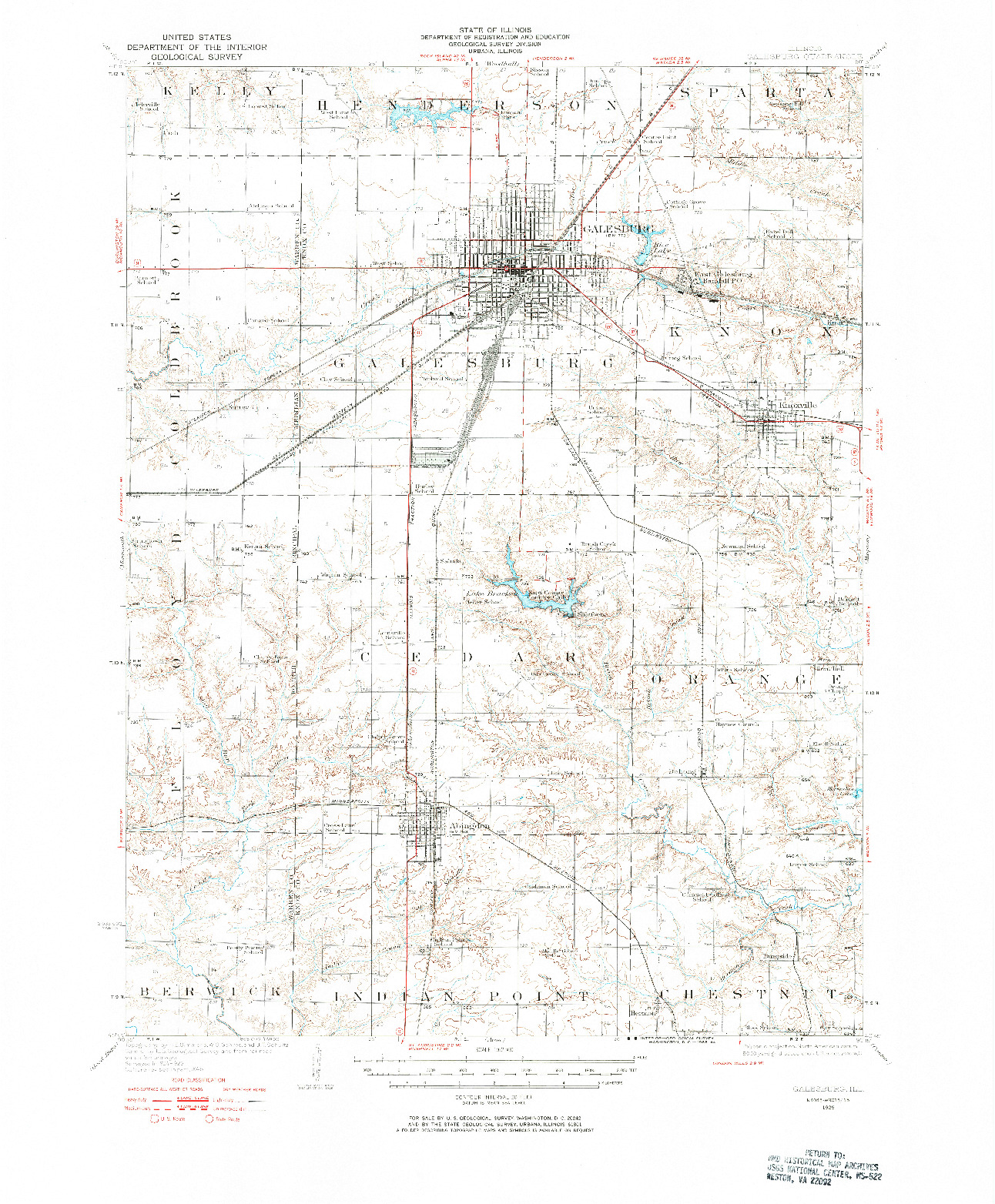 USGS 1:62500-SCALE QUADRANGLE FOR GALESBURG, IL 1925