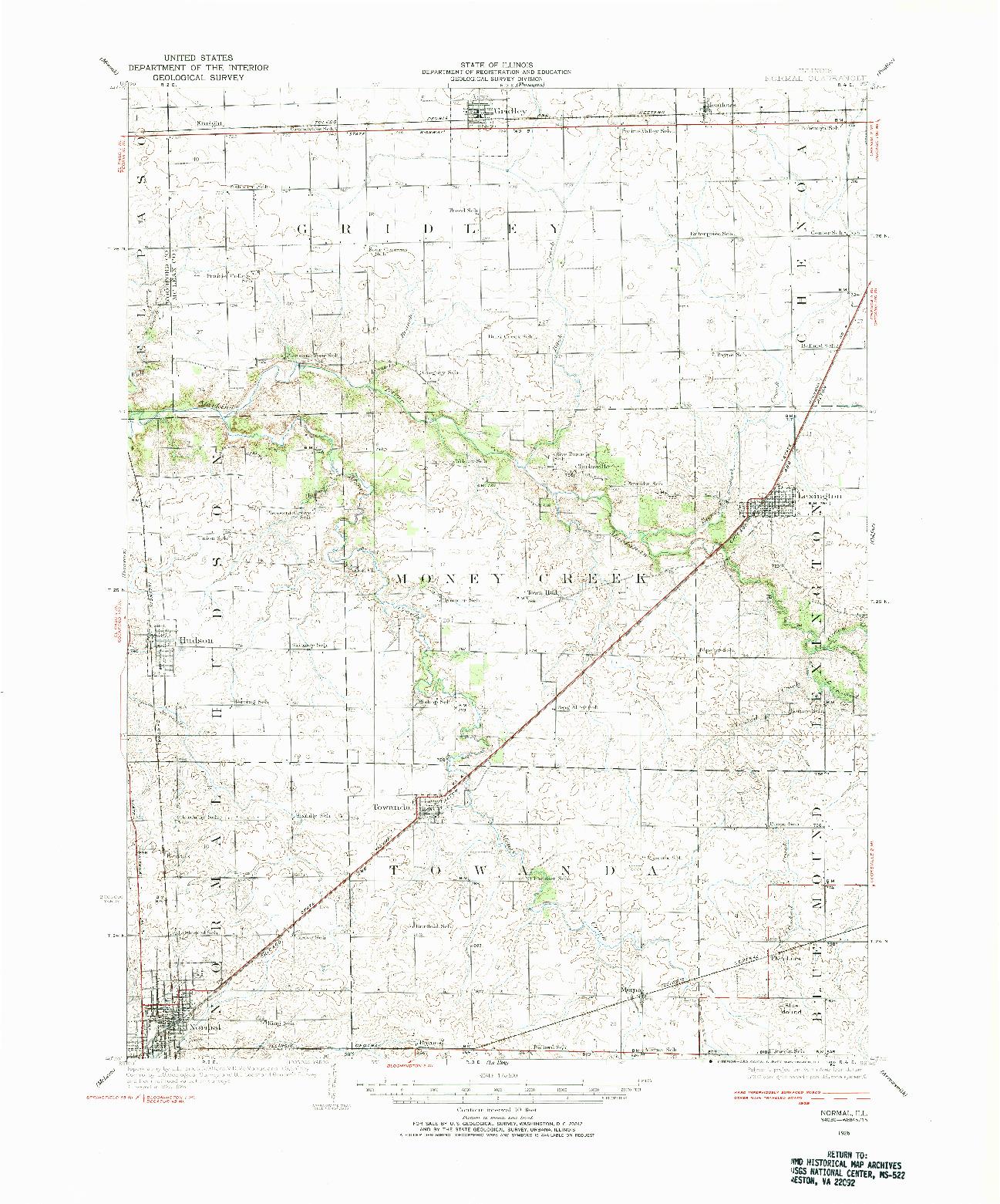 USGS 1:62500-SCALE QUADRANGLE FOR NORMAL, IL 1926