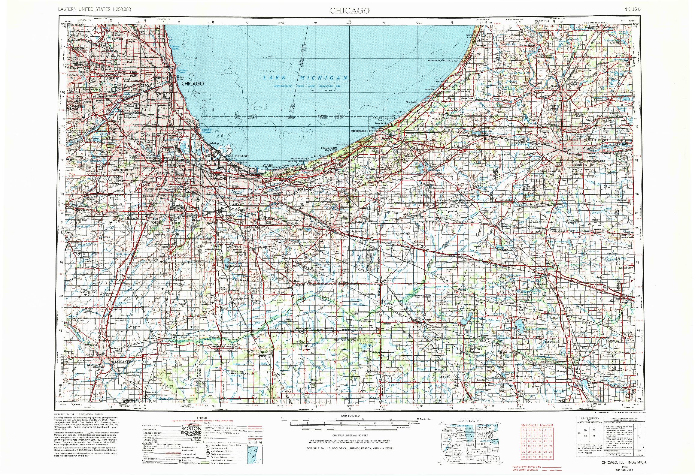 USGS 1:250000-SCALE QUADRANGLE FOR CHICAGO, IL 1953
