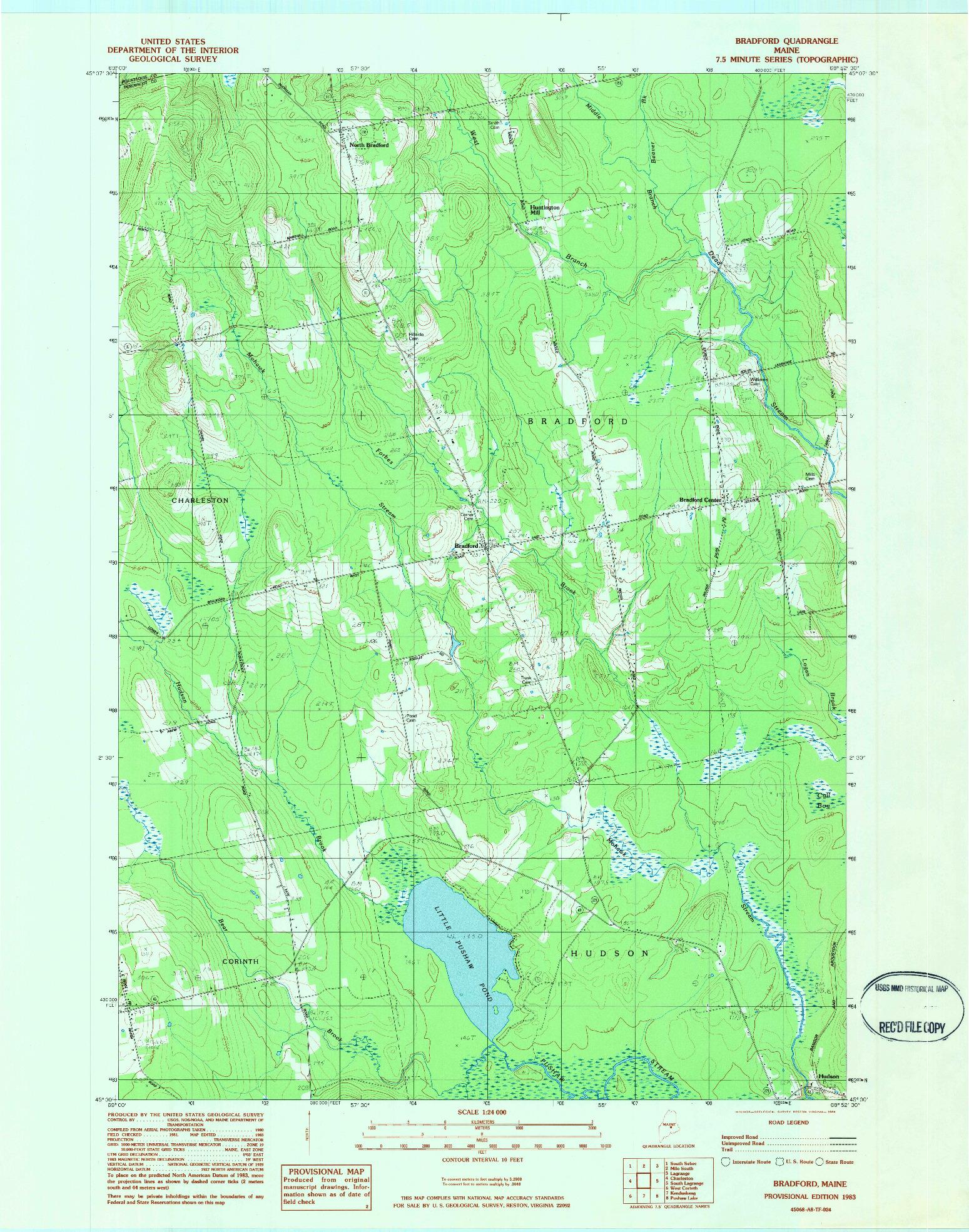 USGS 1:24000-SCALE QUADRANGLE FOR BRADFORD, ME 1983