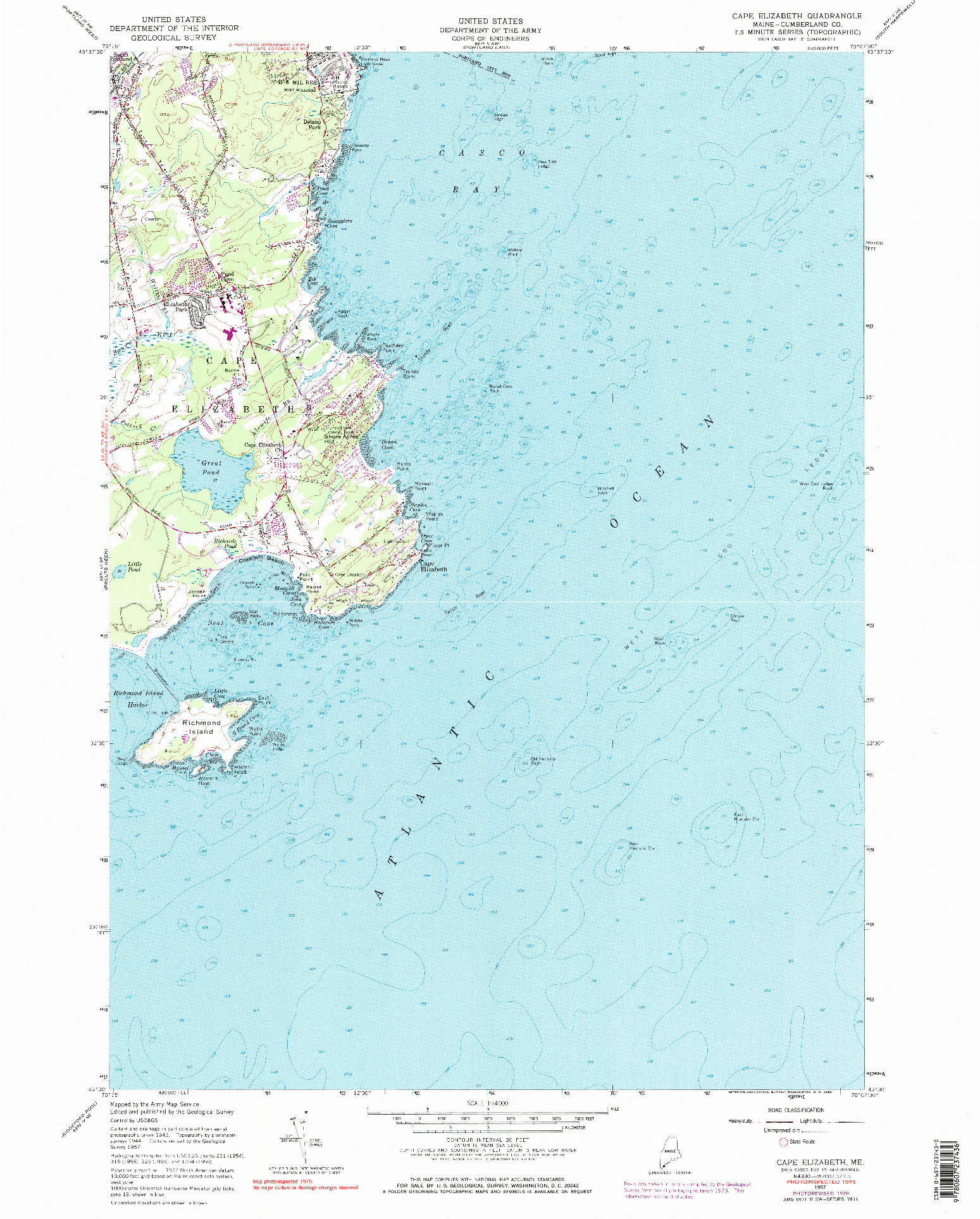 USGS 1:24000-SCALE QUADRANGLE FOR CAPE ELIZABETH, ME 1957