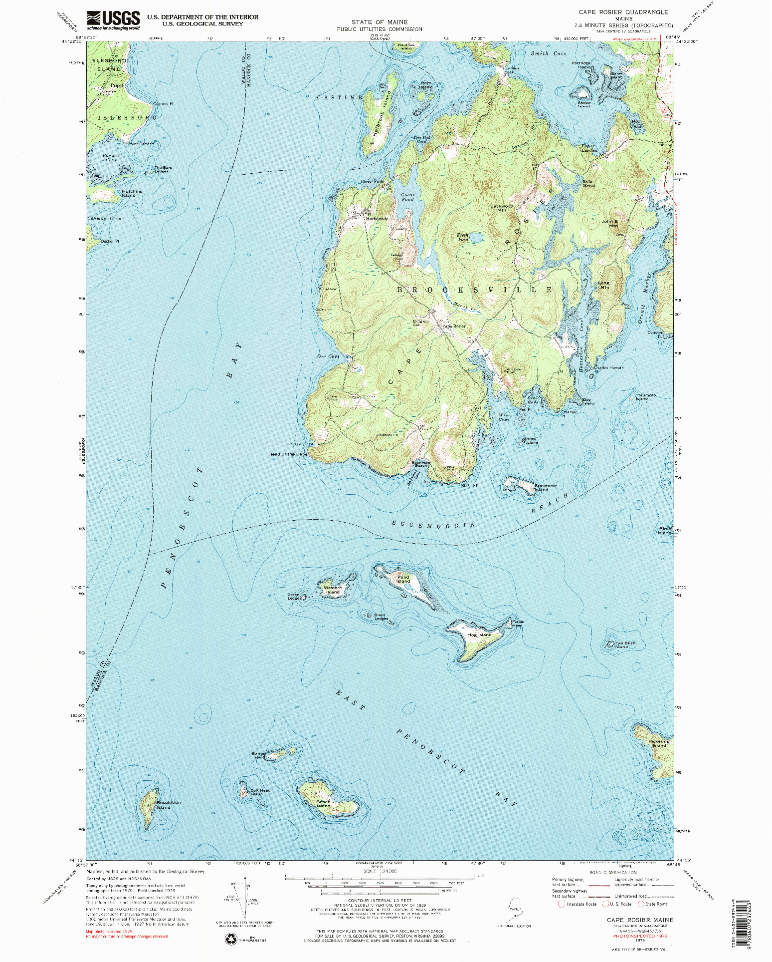 USGS 1:24000-SCALE QUADRANGLE FOR CAPE ROSIER, ME 1973