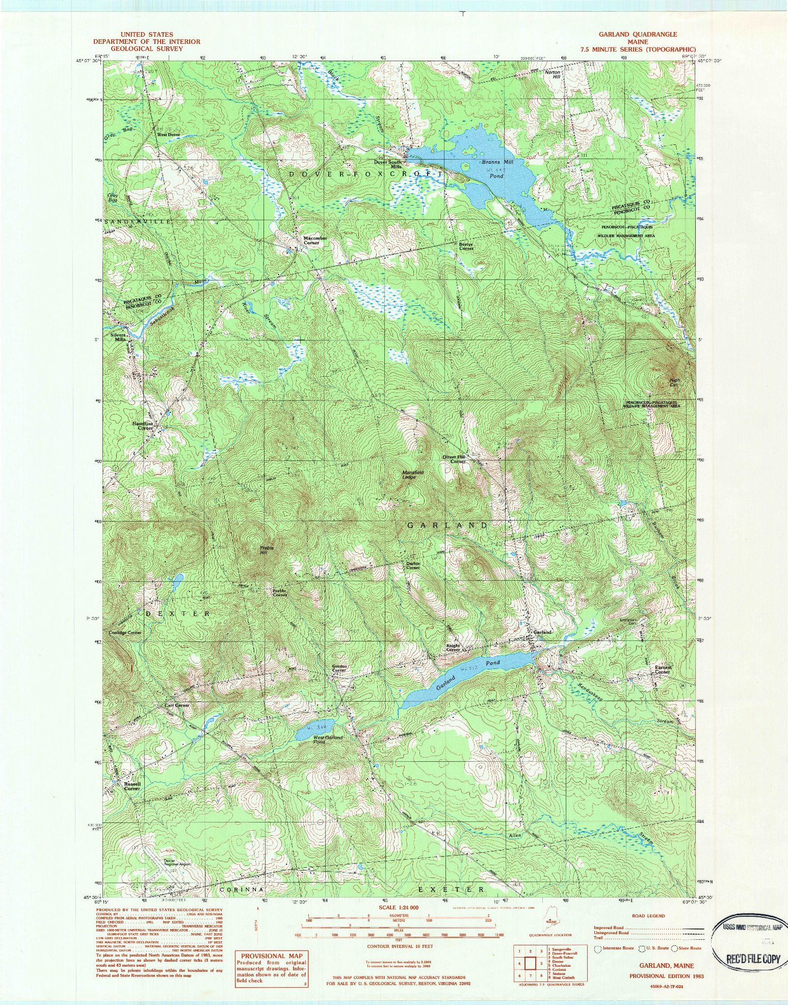 USGS 1:24000-SCALE QUADRANGLE FOR GARLAND, ME 1983