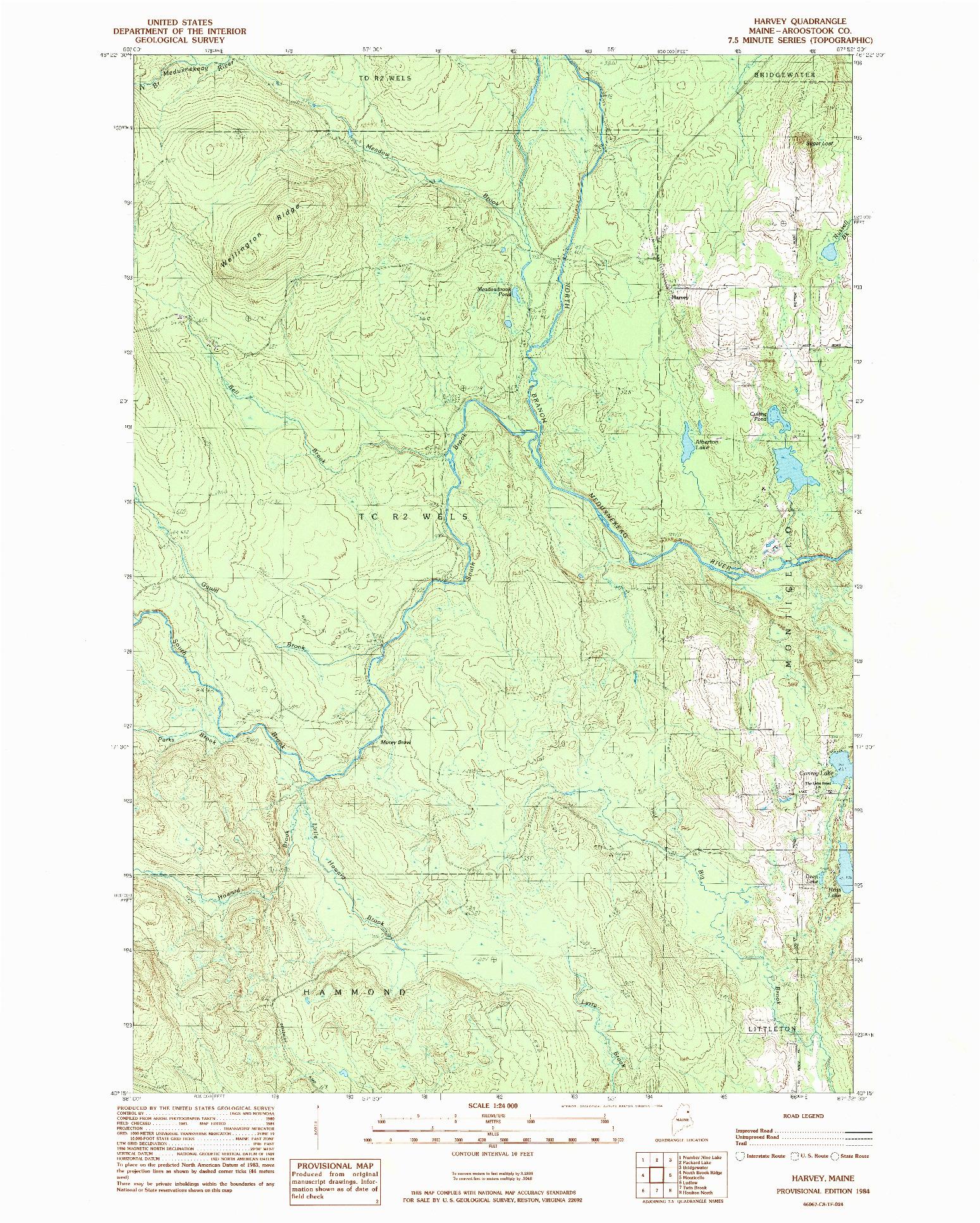 USGS 1:24000-SCALE QUADRANGLE FOR HARVEY, ME 1984