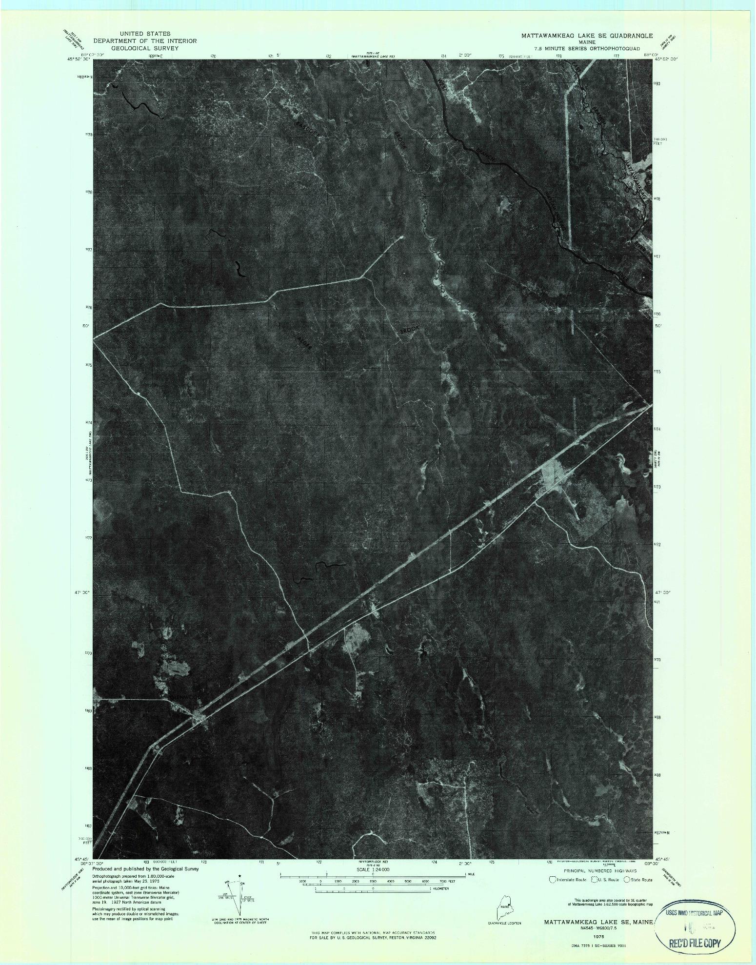 USGS 1:24000-SCALE QUADRANGLE FOR MATTAWAMKEAG LAKE SE, ME 1975