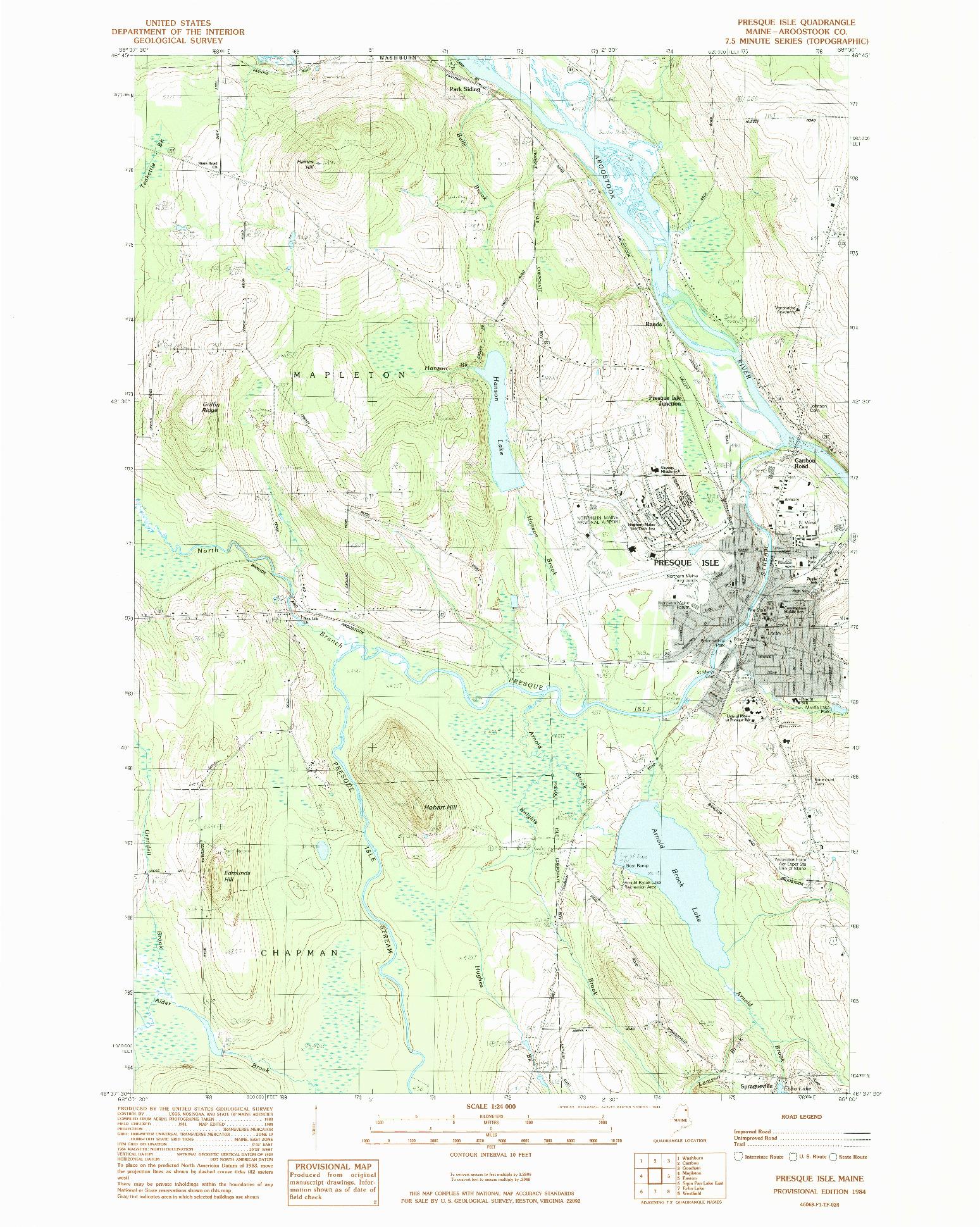 USGS 1:24000-SCALE QUADRANGLE FOR PRESQUE ISLE, ME 1984