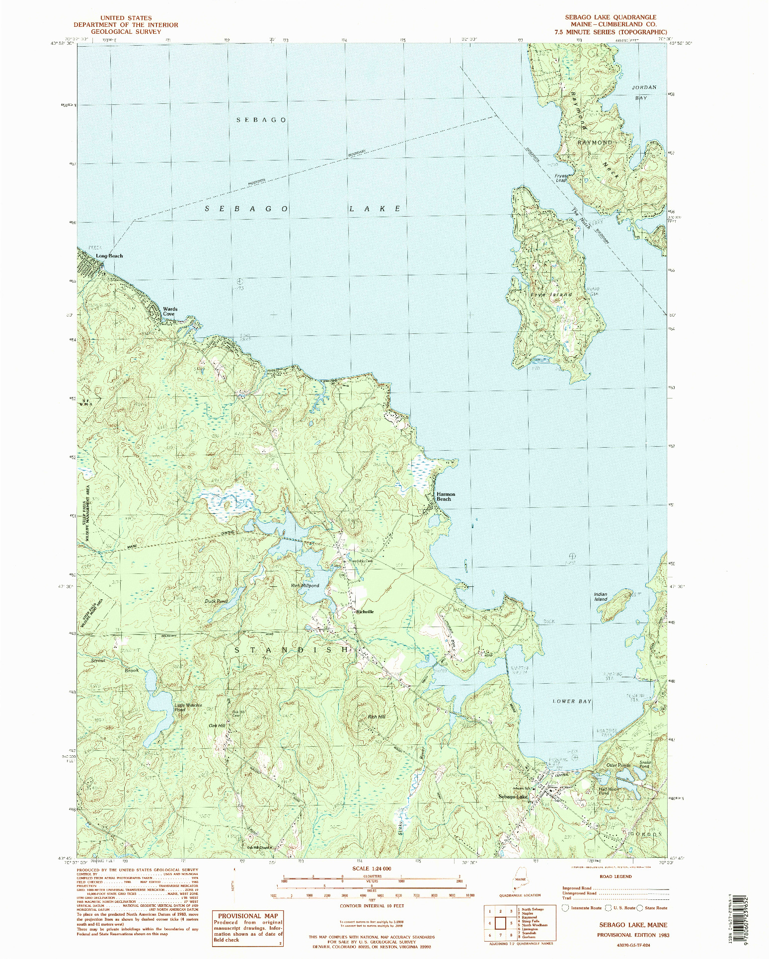 USGS 1:24000-SCALE QUADRANGLE FOR SEBAGO LAKE, ME 1983
