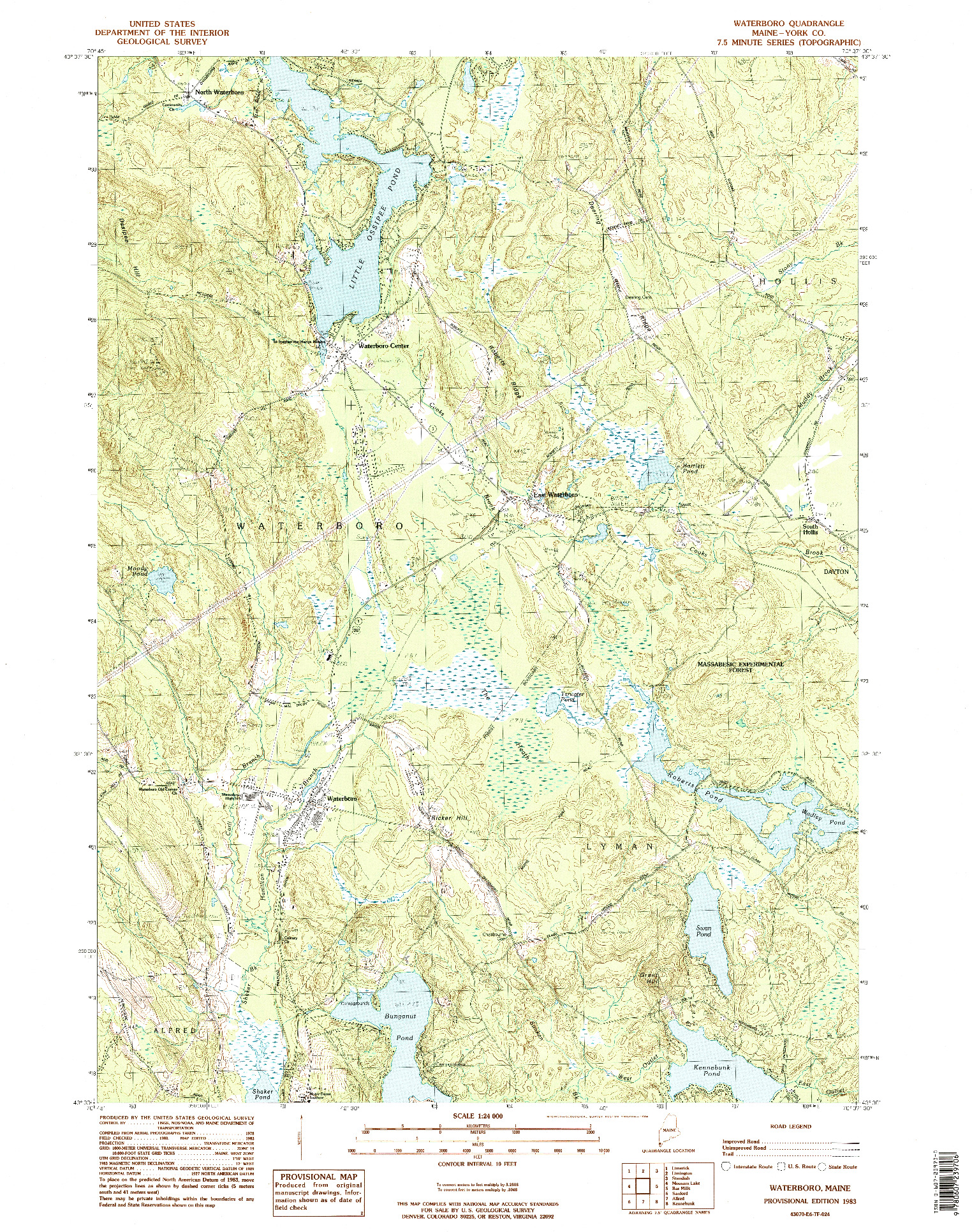 USGS 1:24000-SCALE QUADRANGLE FOR WATERBORO, ME 1983