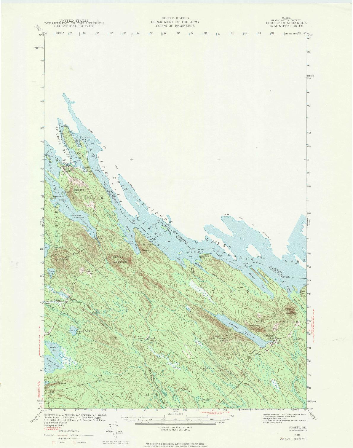 USGS 1:62500-SCALE QUADRANGLE FOR FOREST, ME 1940