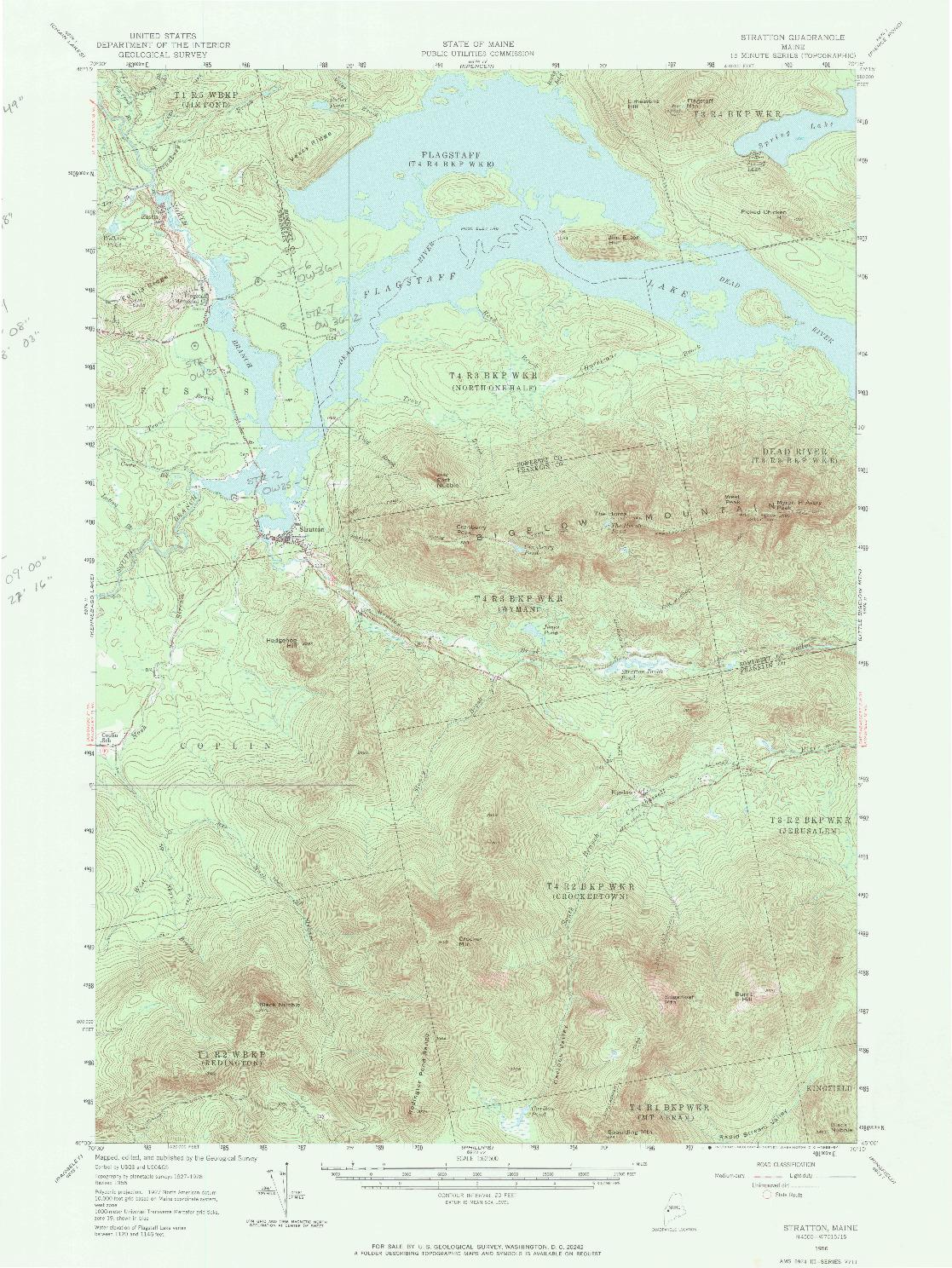 USGS 1:62500-SCALE QUADRANGLE FOR STRATTON, ME 1956