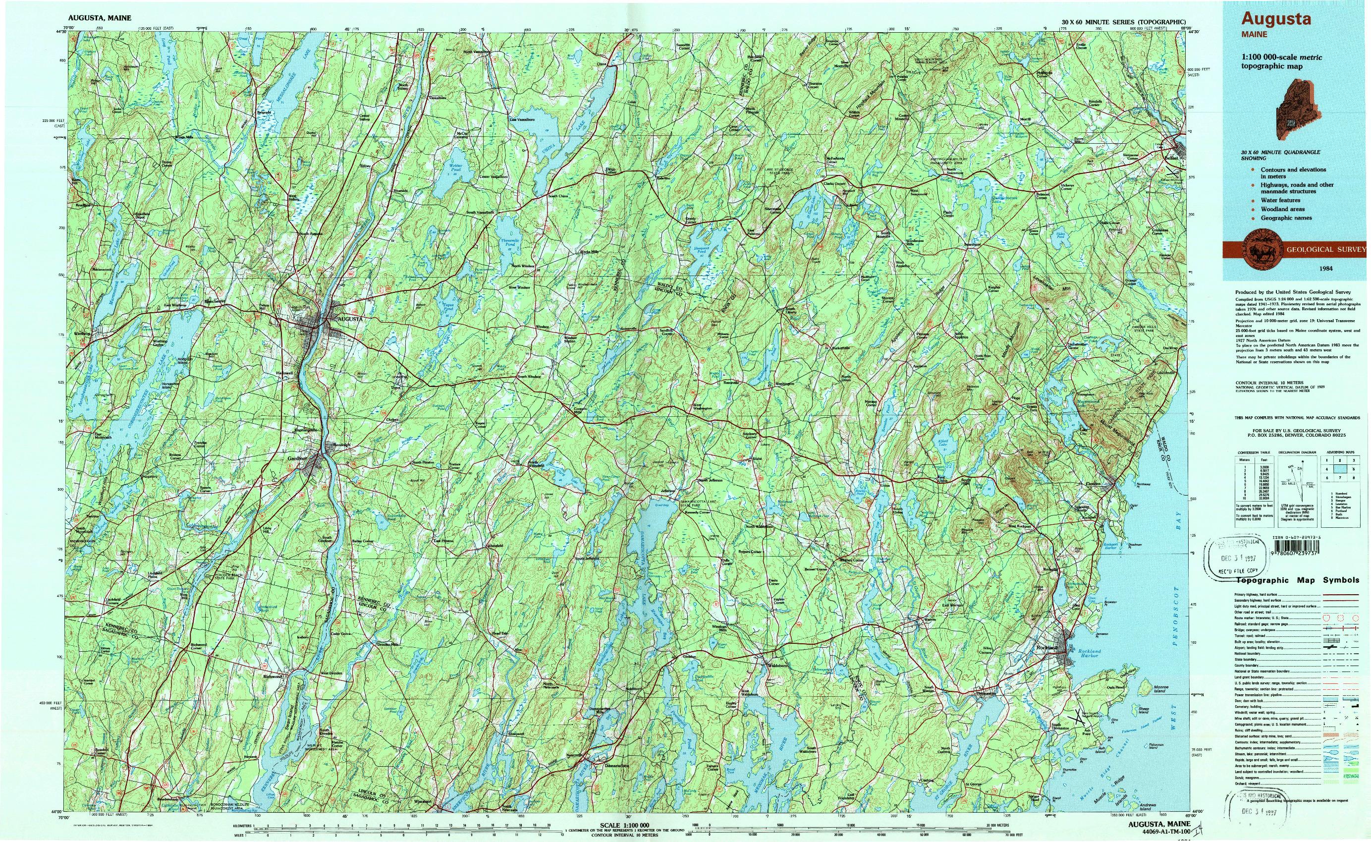USGS 1:100000-SCALE QUADRANGLE FOR AUGUSTA, ME 1984