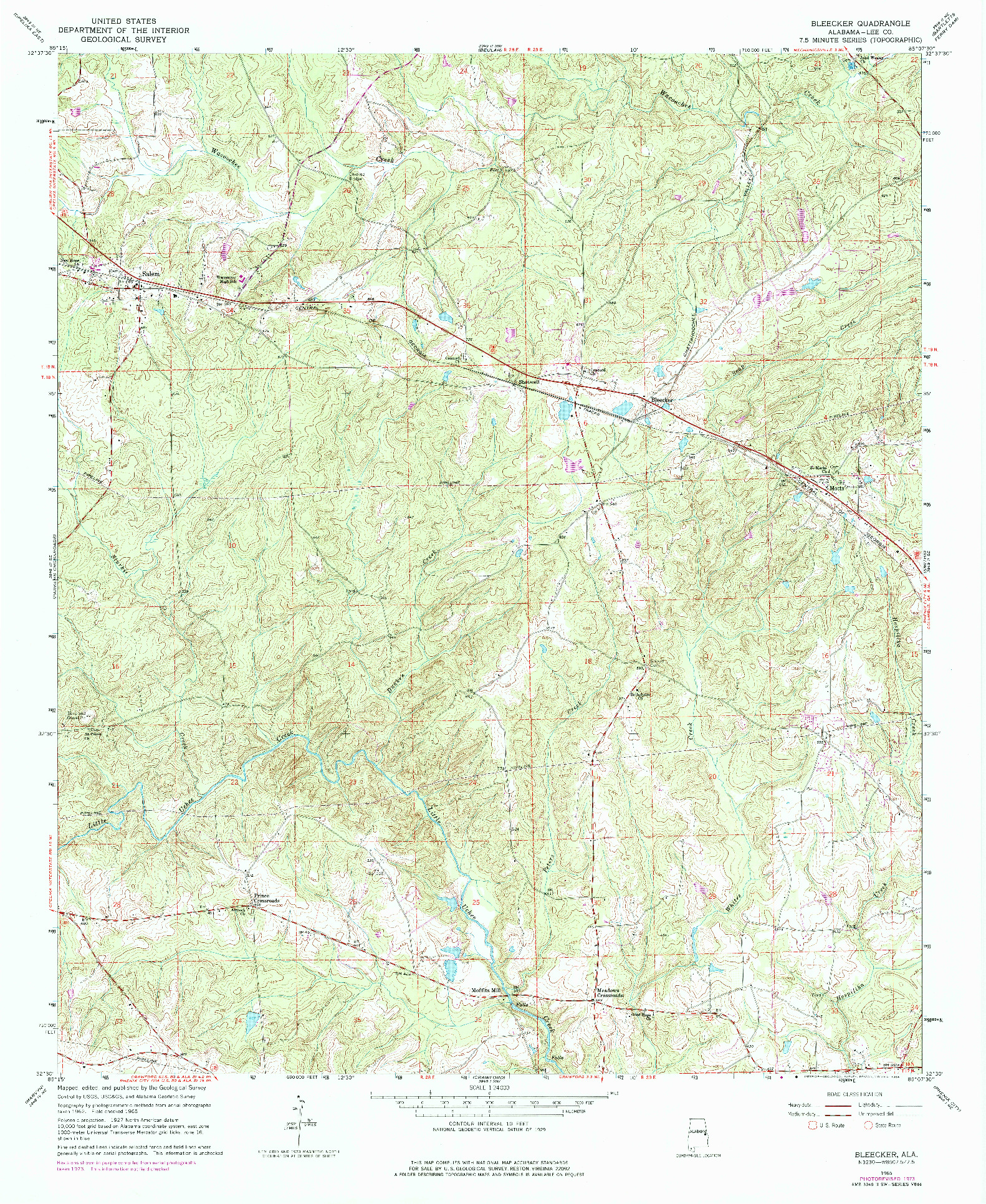 USGS 1:24000-SCALE QUADRANGLE FOR BLEECKER, AL 1965