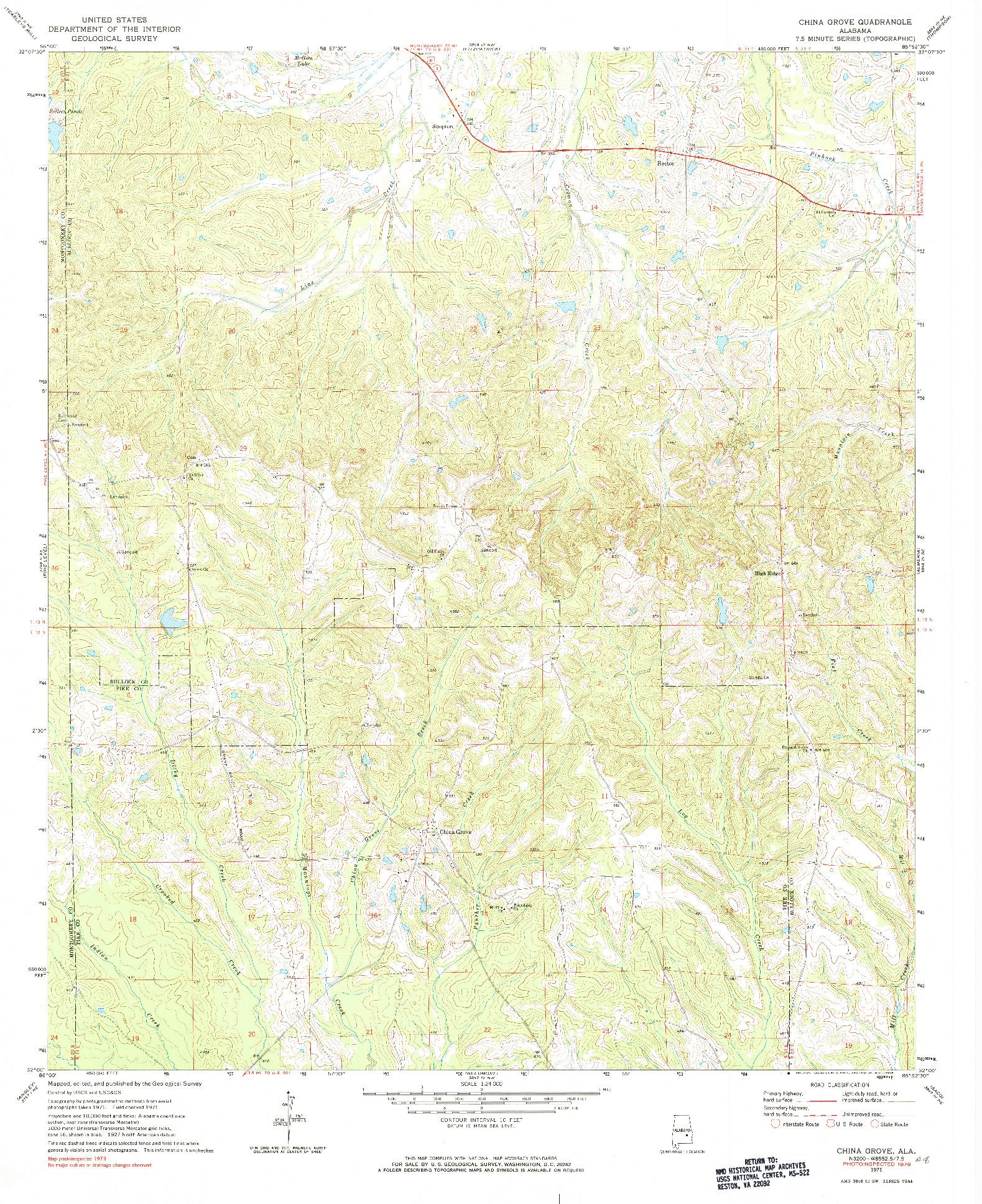 USGS 1:24000-SCALE QUADRANGLE FOR CHINA GROVE, AL 1971