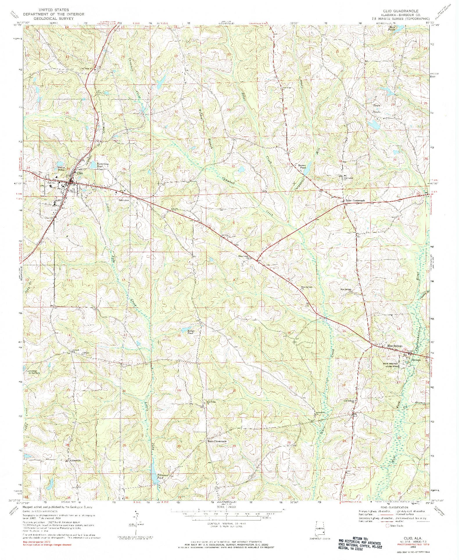 USGS 1:24000-SCALE QUADRANGLE FOR CLIO, AL 1969