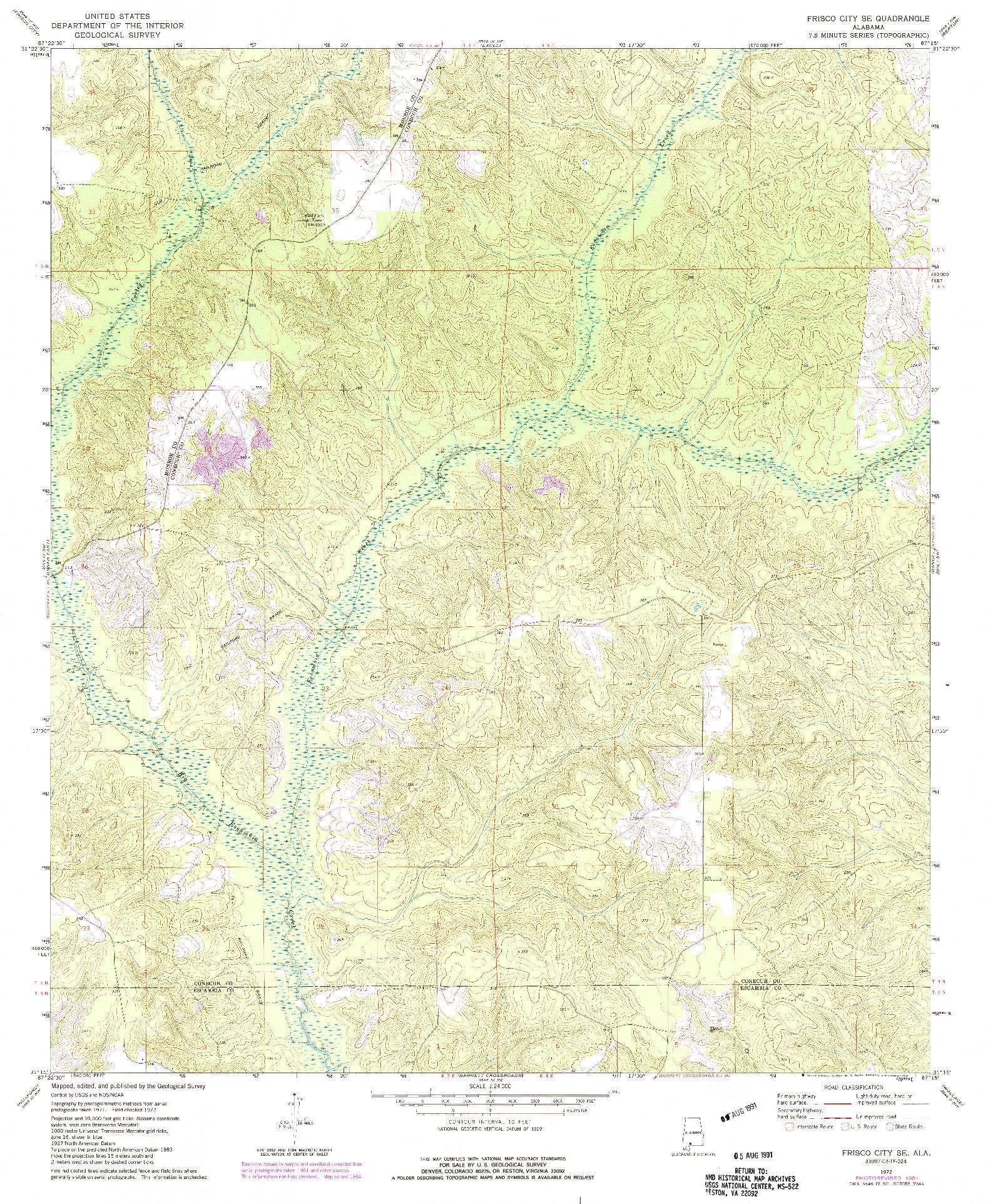 USGS 1:24000-SCALE QUADRANGLE FOR FRISCO CITY SE, AL 1972