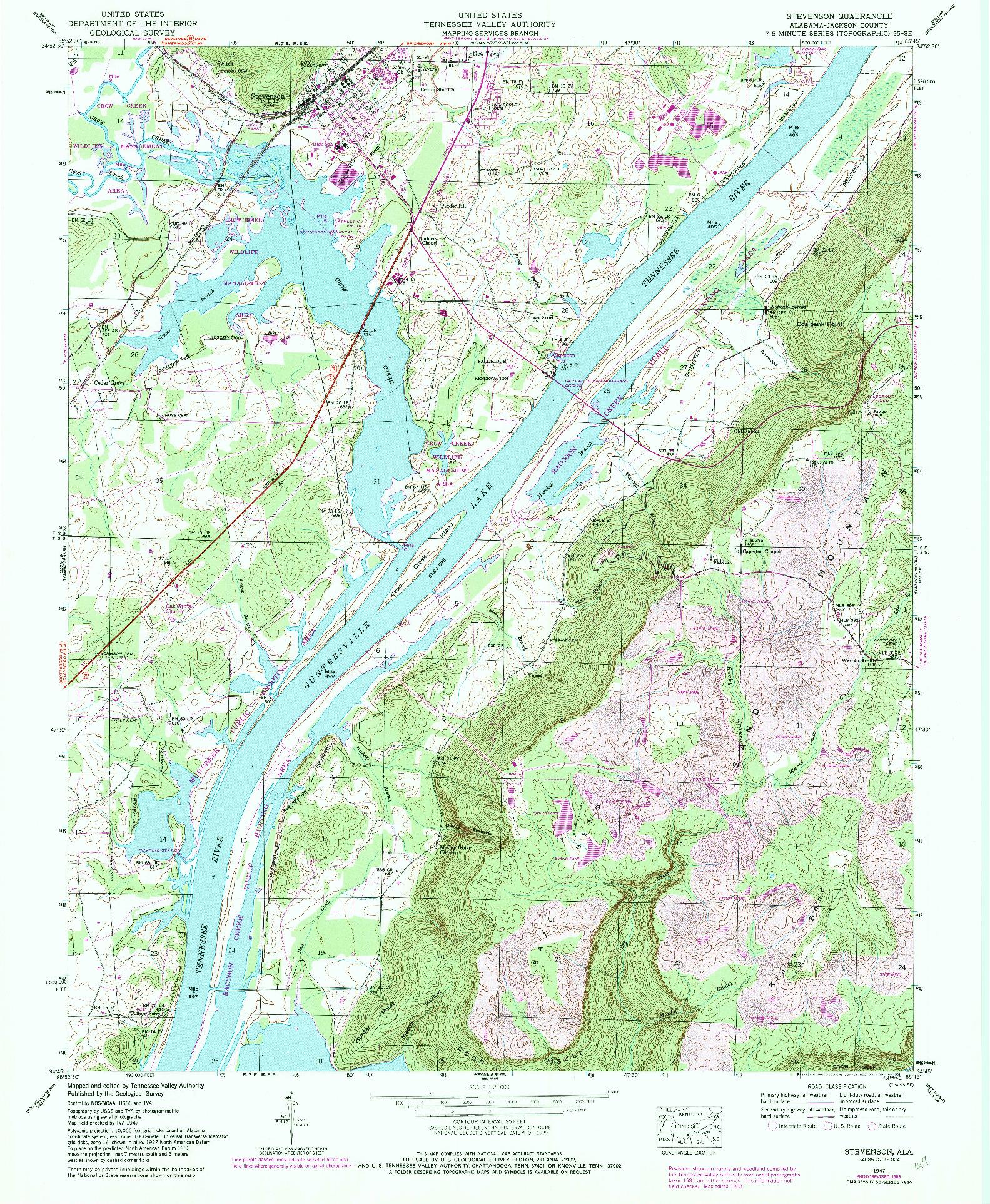 USGS 1:24000-SCALE QUADRANGLE FOR STEVENSON, AL 1947