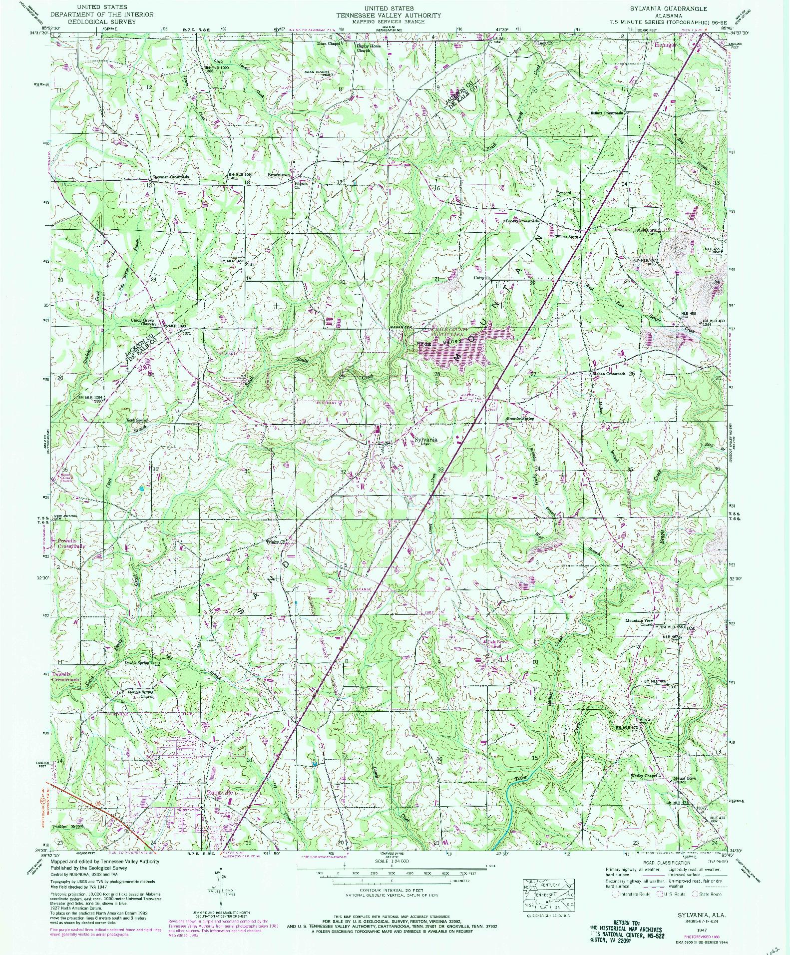 USGS 1:24000-SCALE QUADRANGLE FOR SYLVANIA, AL 1947