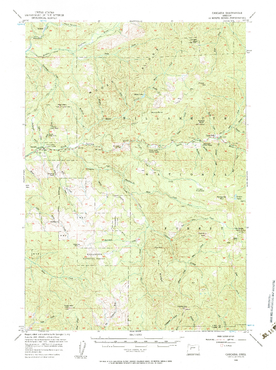USGS 1:62500-SCALE QUADRANGLE FOR CASCADIA, OR 1955