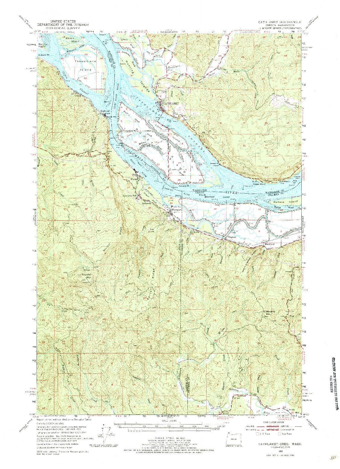 USGS 1:62500-SCALE QUADRANGLE FOR CATHLAMET, OR 1953