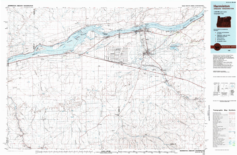 USGS 1:100000-SCALE QUADRANGLE FOR HERMISTON, OR 1984