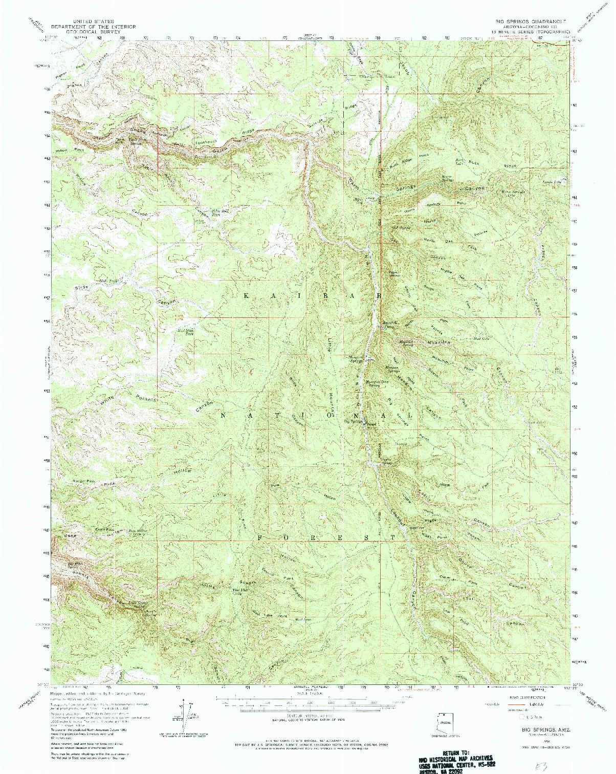 USGS 1:62500-SCALE QUADRANGLE FOR BIG SPRINGS, AZ 1958