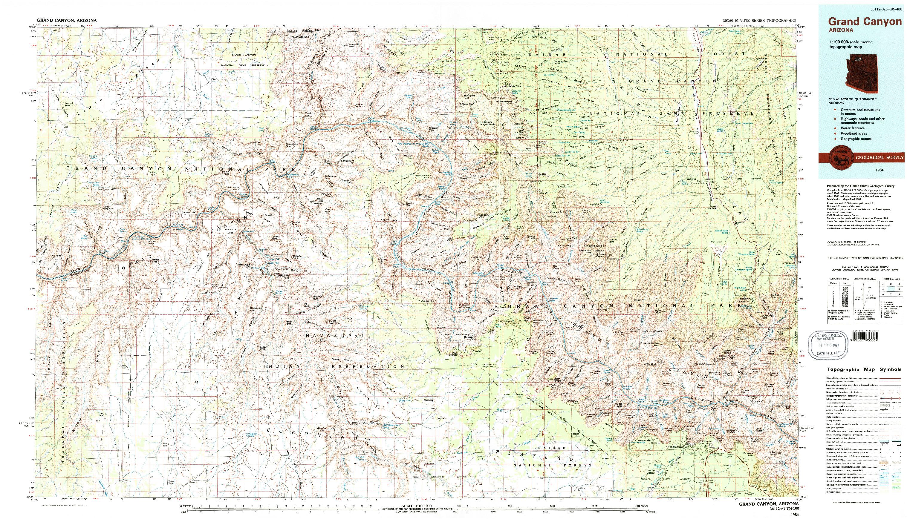 USGS 1:100000-SCALE QUADRANGLE FOR GRAND CANYON, AZ 1984